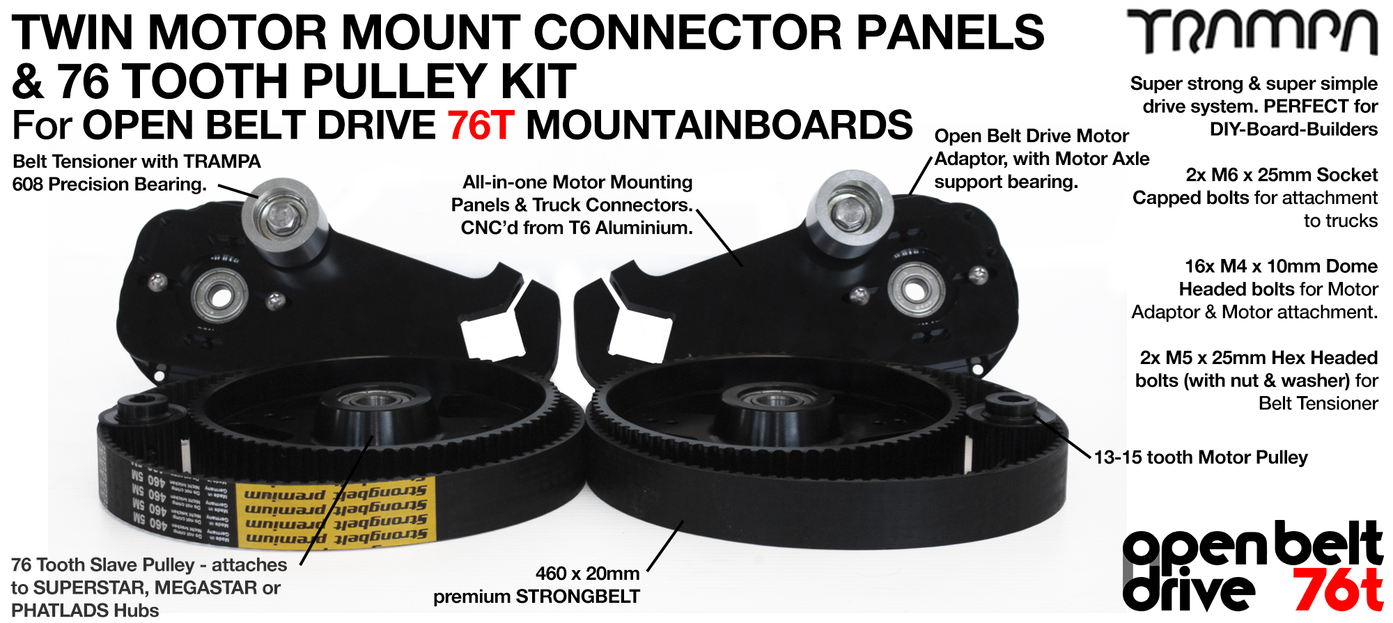 76T OBD Motor Mount & 76 tooth Pulley for 9 inch Wheel - TWIN