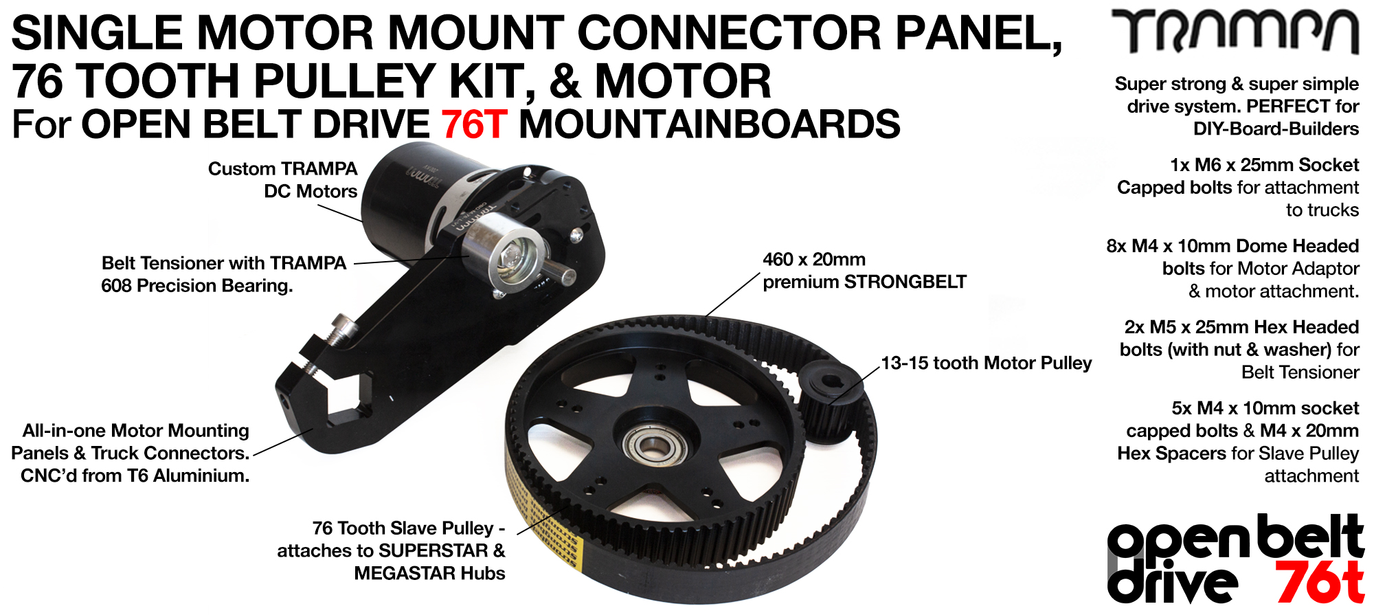 76T OBD Motor Mount & 76 tooth Pulley with MOTOR - SINGLE
