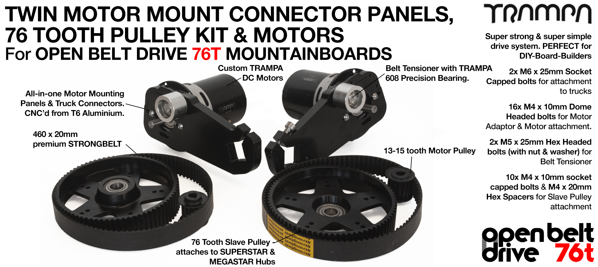 76T OBD Motor Mount & 76 tooth Pulley with MOTOR - TWIN
