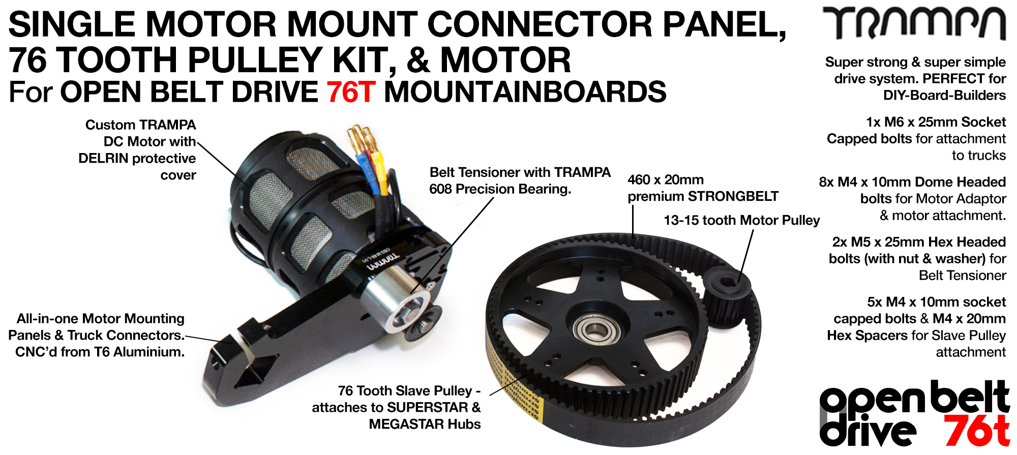 76T OPEN BELT DRIVE Motor Mount & 76T Pulley Kit with MOTOR & Filters - SINGLE