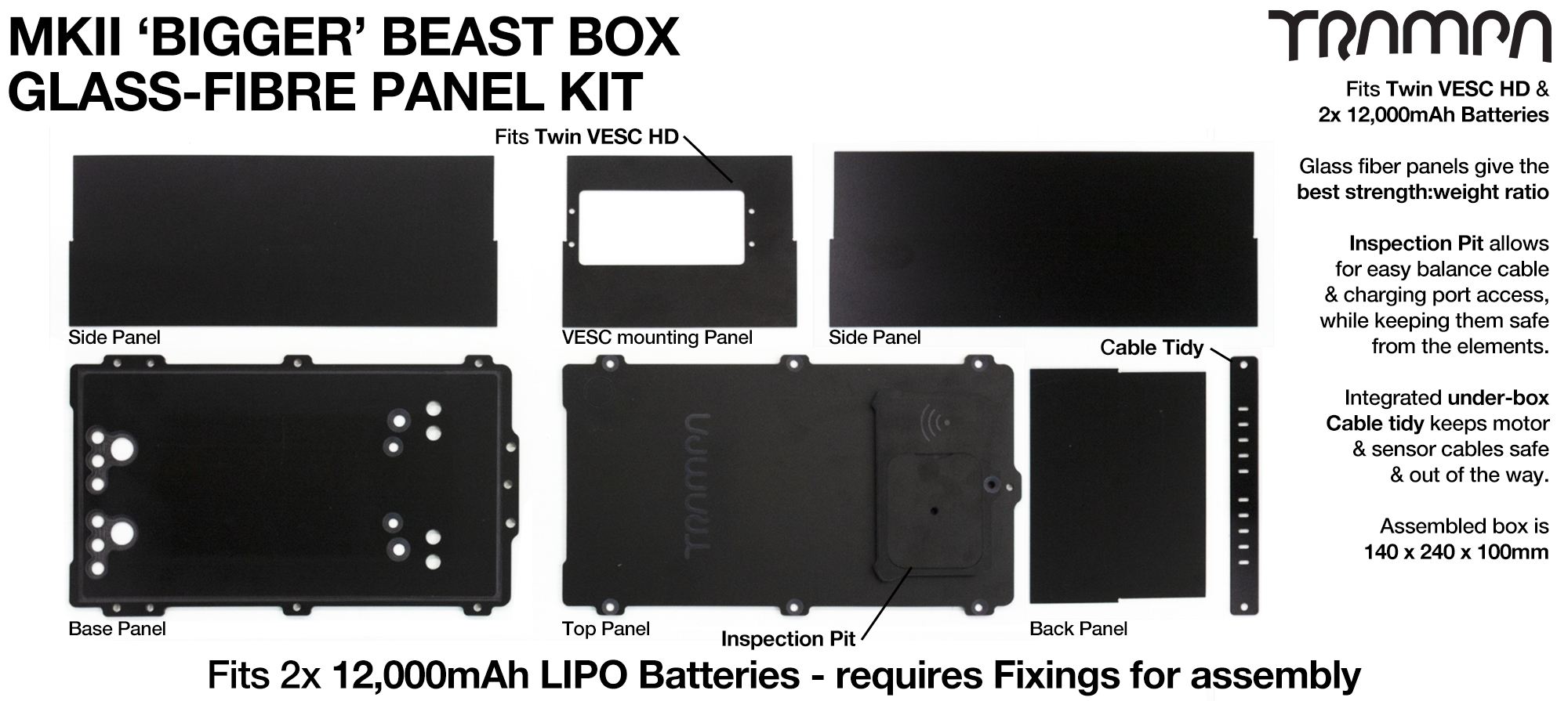 MKII BIGGER BEAST Box OUTER Panels - fits 12A & HD-60Twin or 1x VESC6 Panel