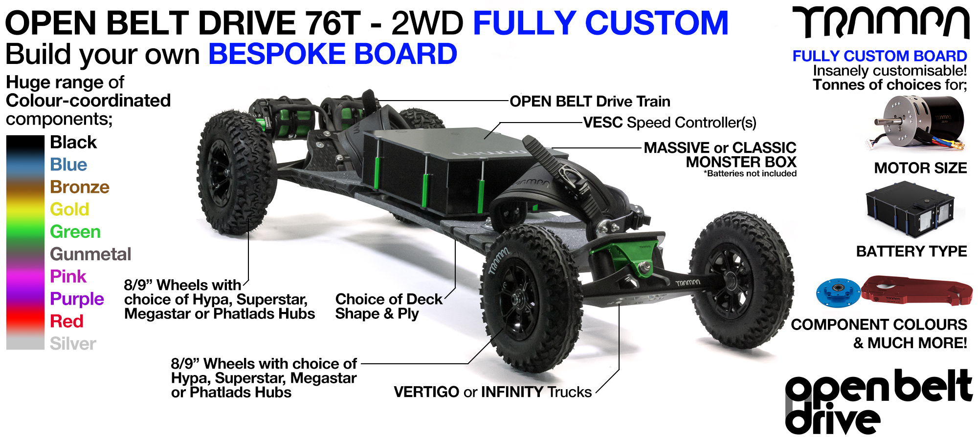 2WD OPEN BELT DRIVE E-MTB with 76T Pulleys - CUSTOM