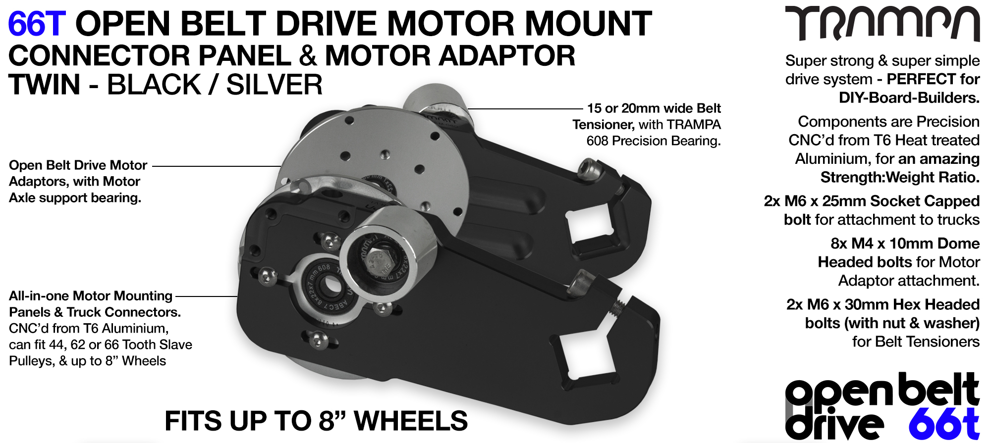 66T OPEN BELT DRIVE Motor Mount & Motor Adaptor - TWIN BLACK