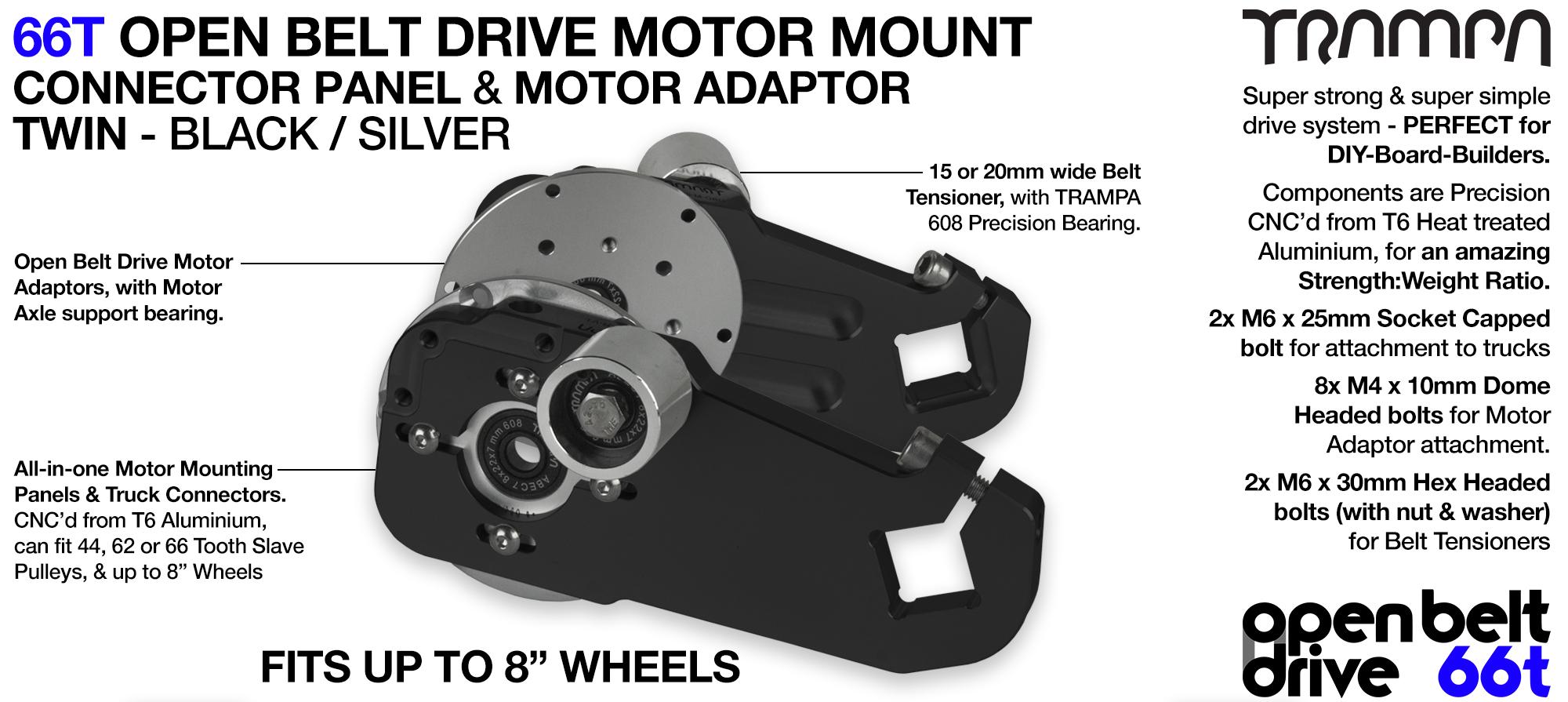 66T OPEN BELT DRIVE Motor Mount & Motor Adaptor - TWIN BLACK