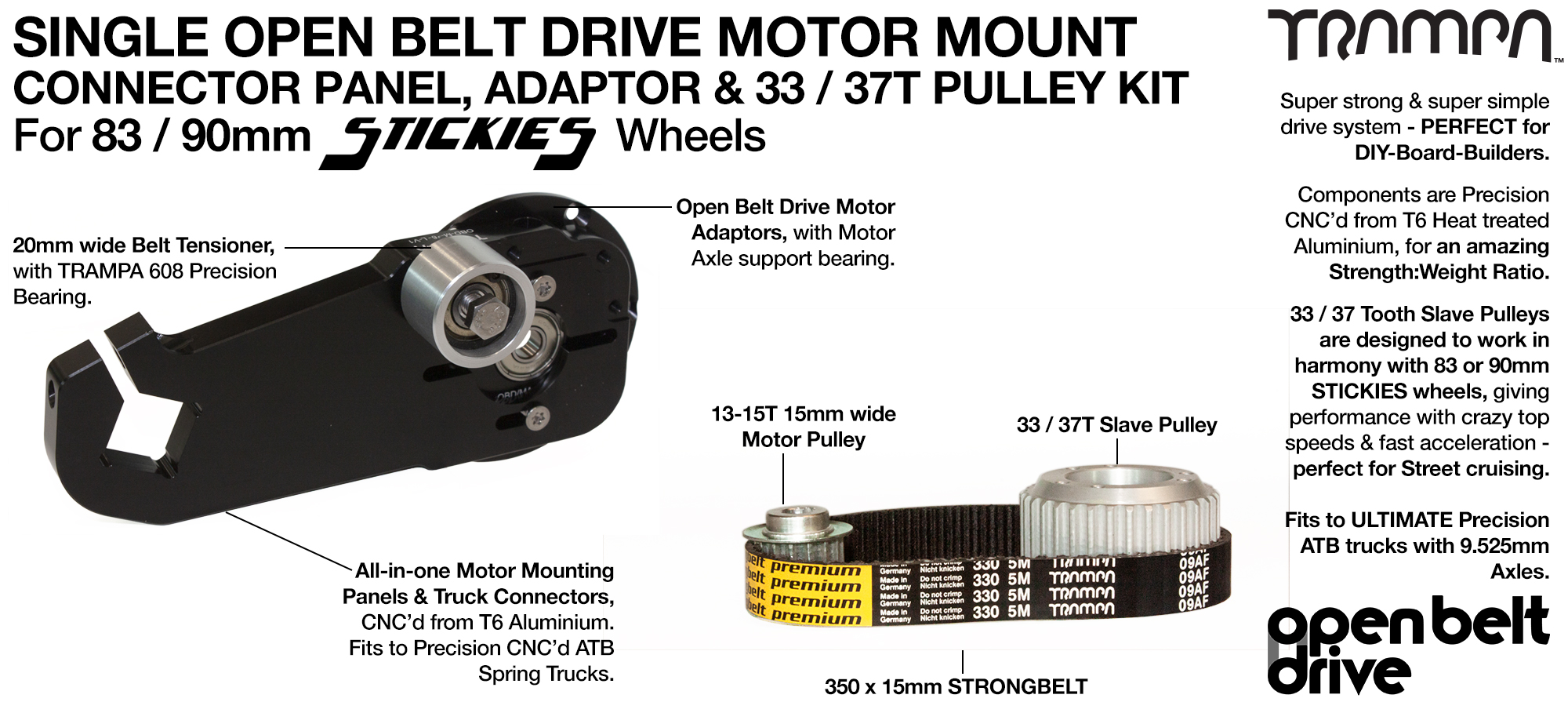 66T OBD Motor Mount & 33 / 37 tooth Pulley for STICKIES Wheels - SINGLE