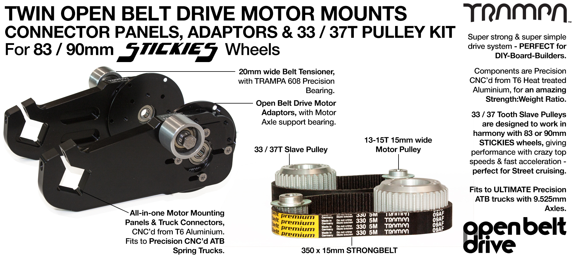 66T OBD Motor Mount & 33 / 37 tooth Pulley - TWIN