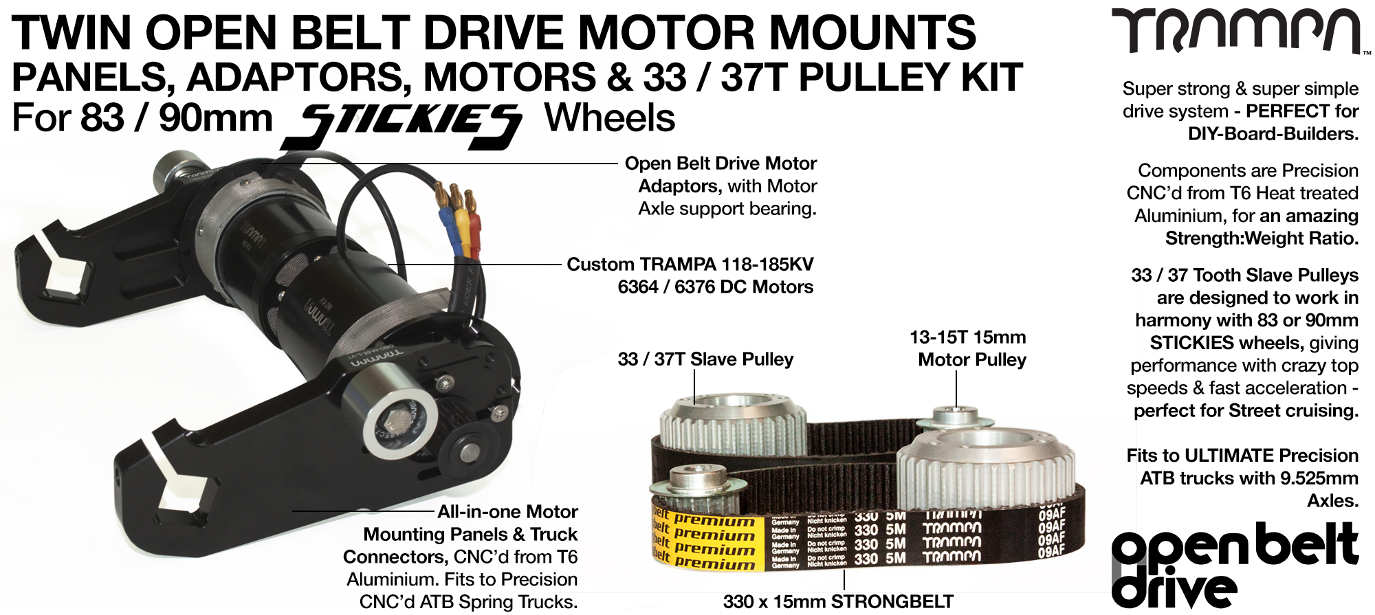 66T OBD Motor Mount with 33 / 37T Pulley kit & custom Motor - TWIN