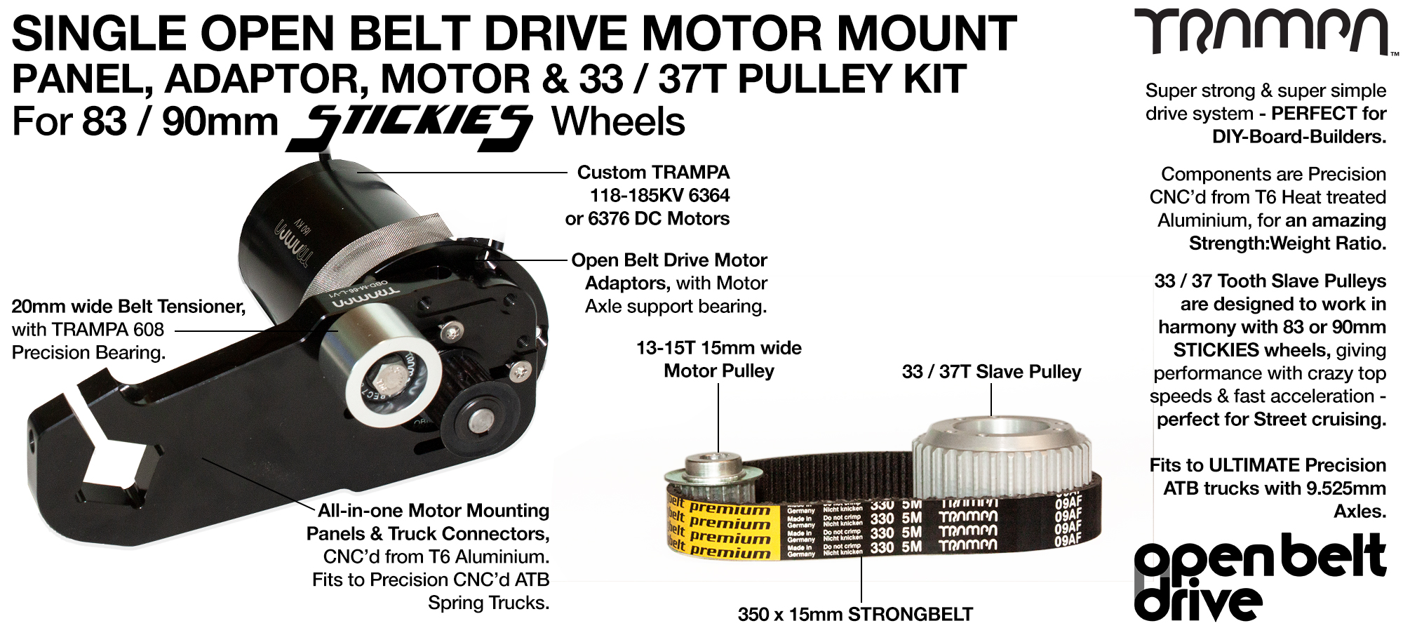 66T OBD Motor Mount with 33 / 37T Pulley kit & custom Motor - SINGLE