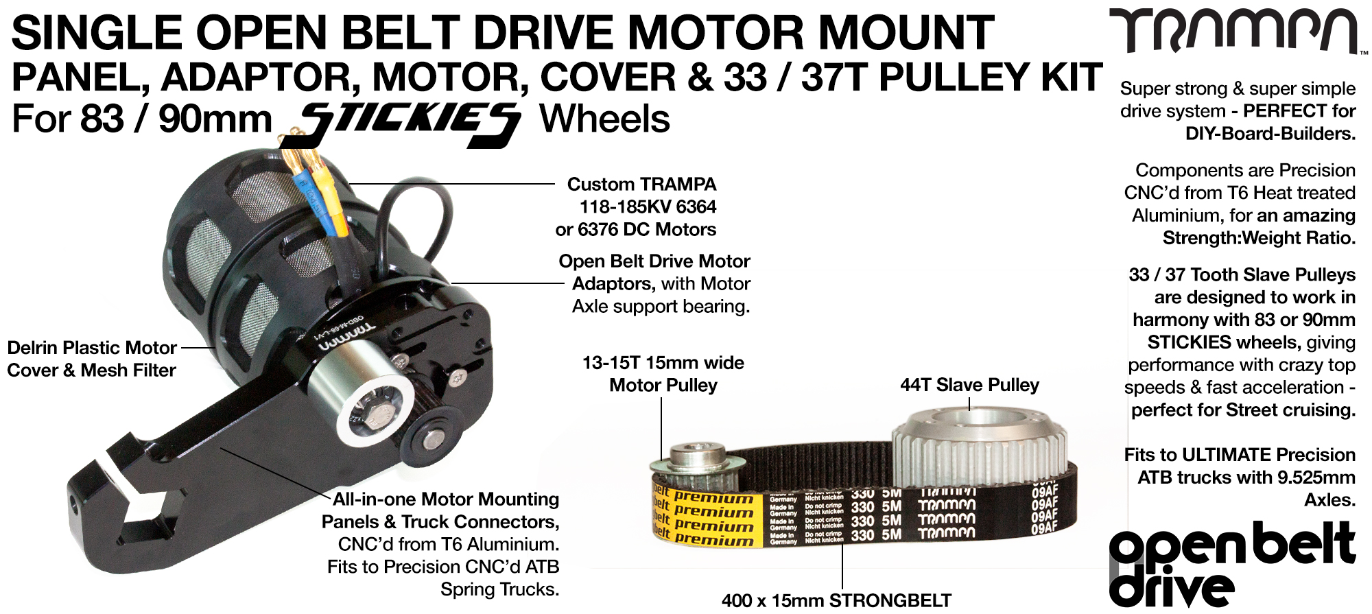 66T OBD Motor Mount with 33 / 37T Pulley kit, Motor & Filters  - SINGLE
