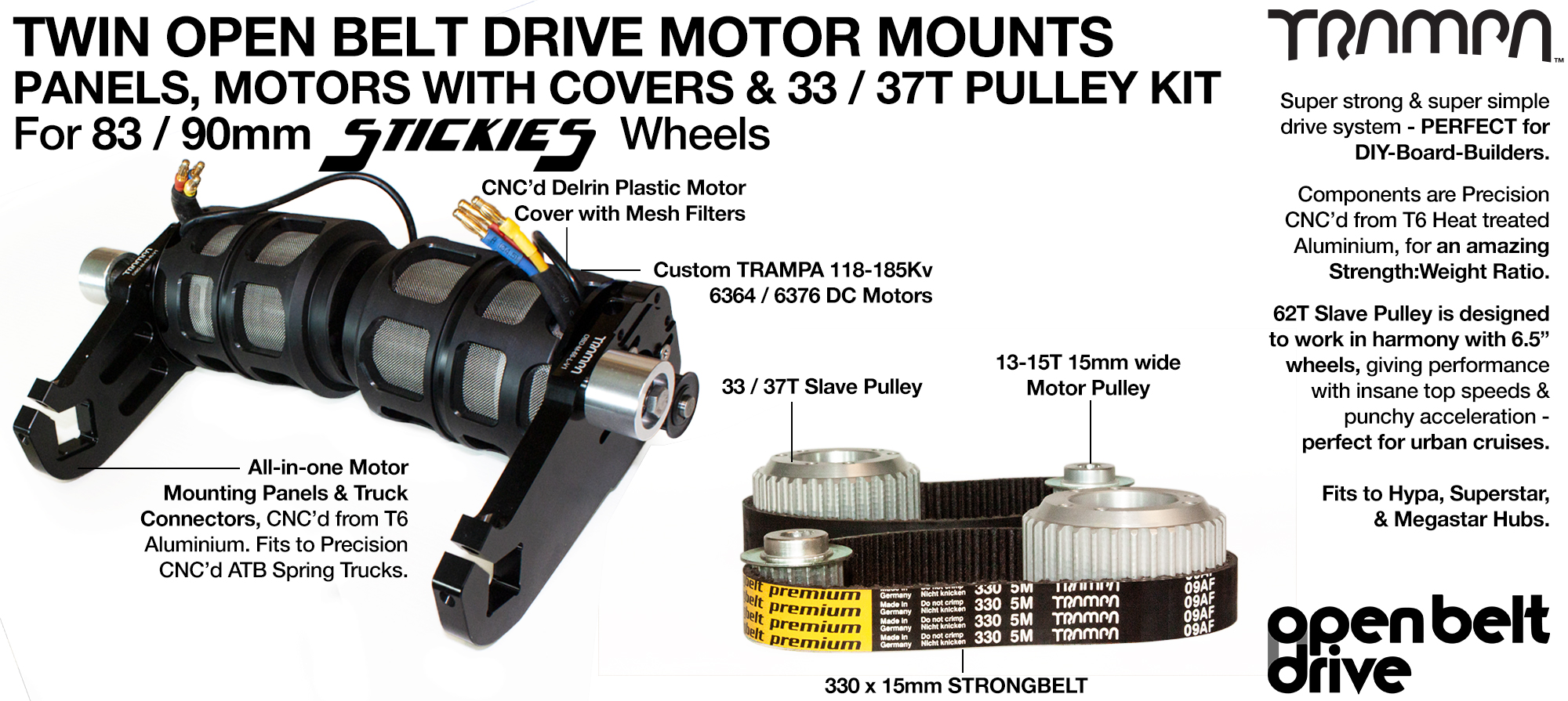 66T OBD Motor Mount with 33 / 37T Pulley kit, Motor & Filters  - TWIN