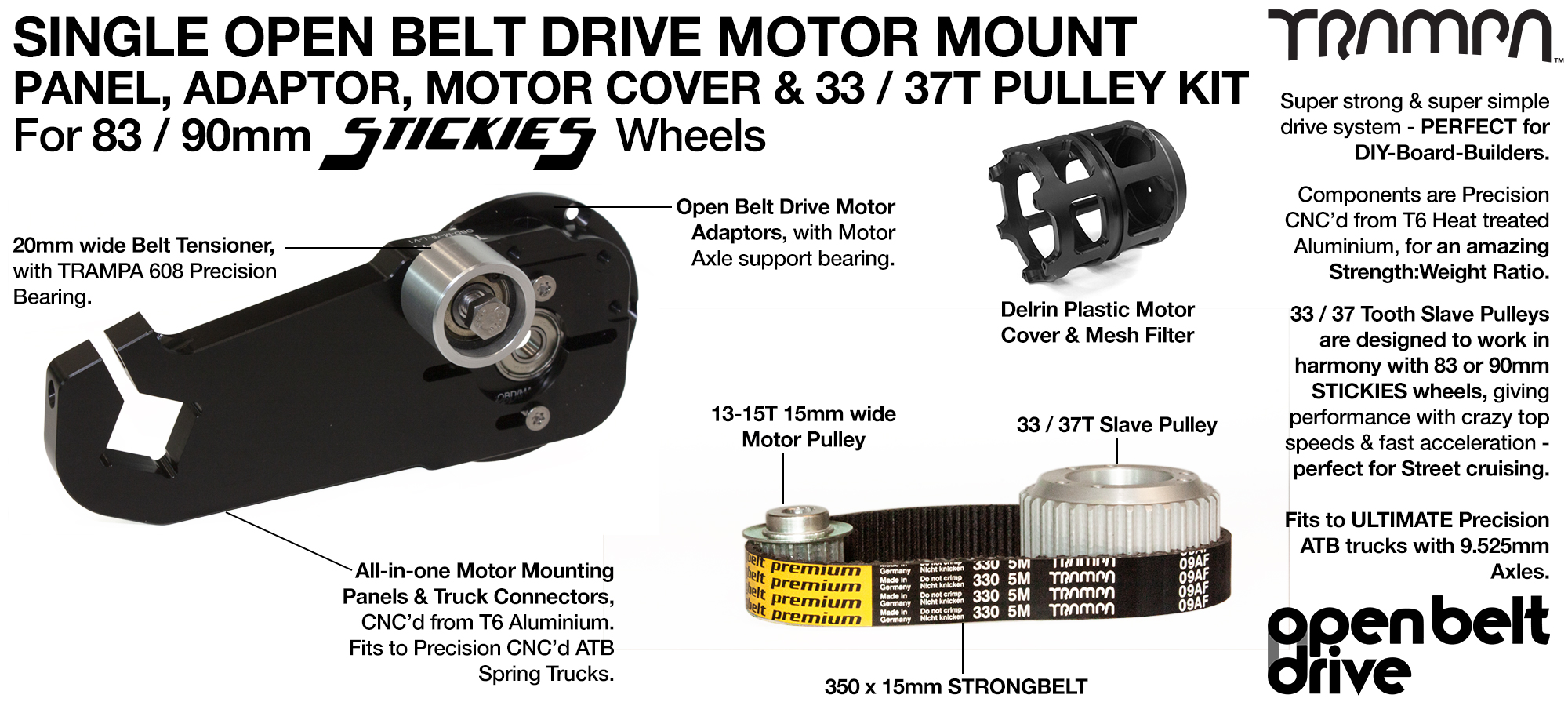 66T OBD Motor Mount with 33 / 37T Pulley kit & Motor Filters - SINGLE