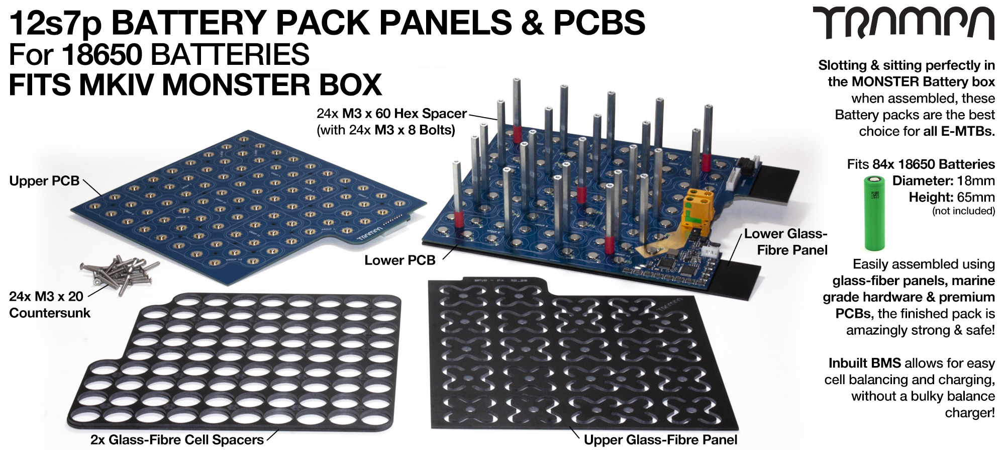 18650 PCB Pack fits 84x cells = 21Ah.  Its specifically made to work in conjunction with TRAMPA's Electric Decks but can be adapted to fit anything
