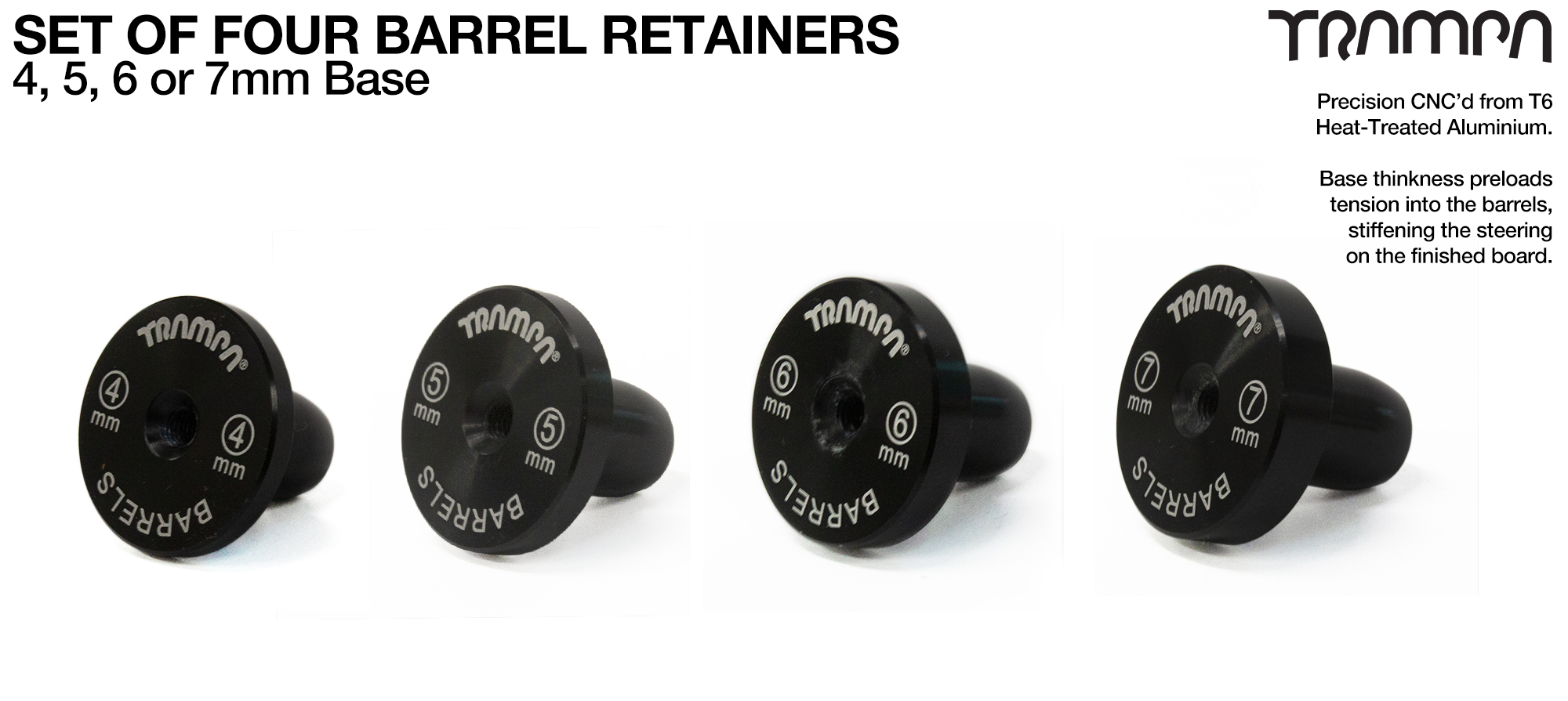 Barrel Retainers x4 with THICKER bases
