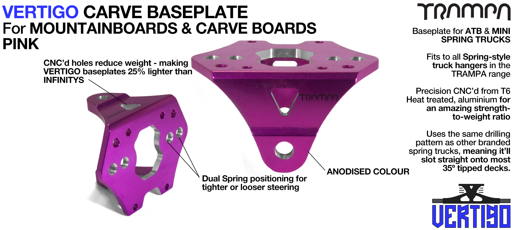 VERTIGO Baseplate PINK - T6 Aluminum Anodised & CNC lightened - Black logo