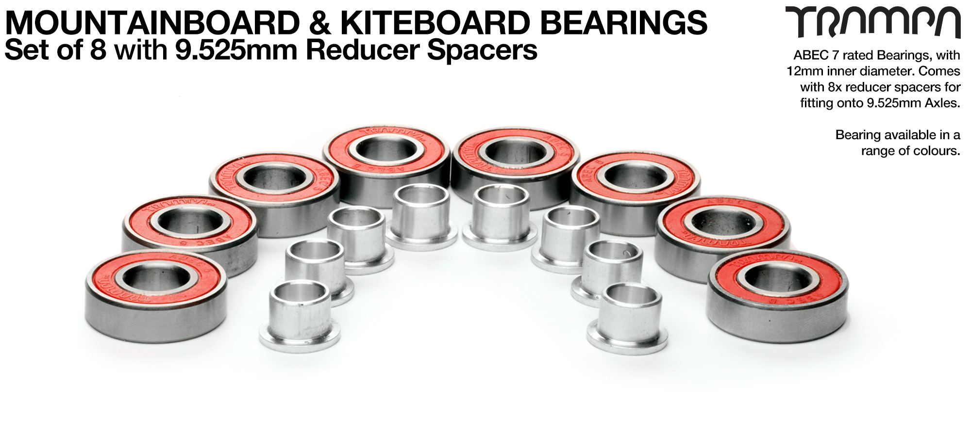 12mm Axle ABEC 7 Rated MTB Bearings with 9.525mm Reducer Spacers