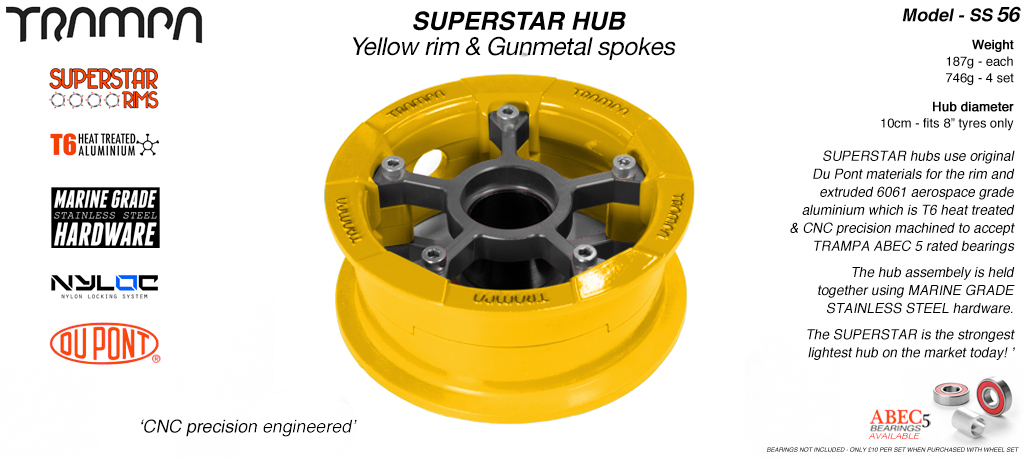 Superstar Hub - Yellow Rim with Gunmetal spokes