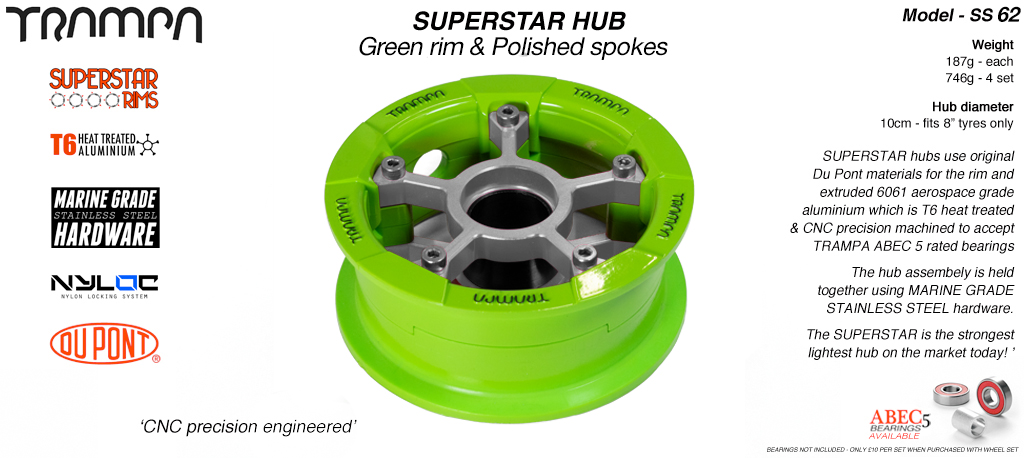 Superstar Hub - Green Rim with Polished spokes
