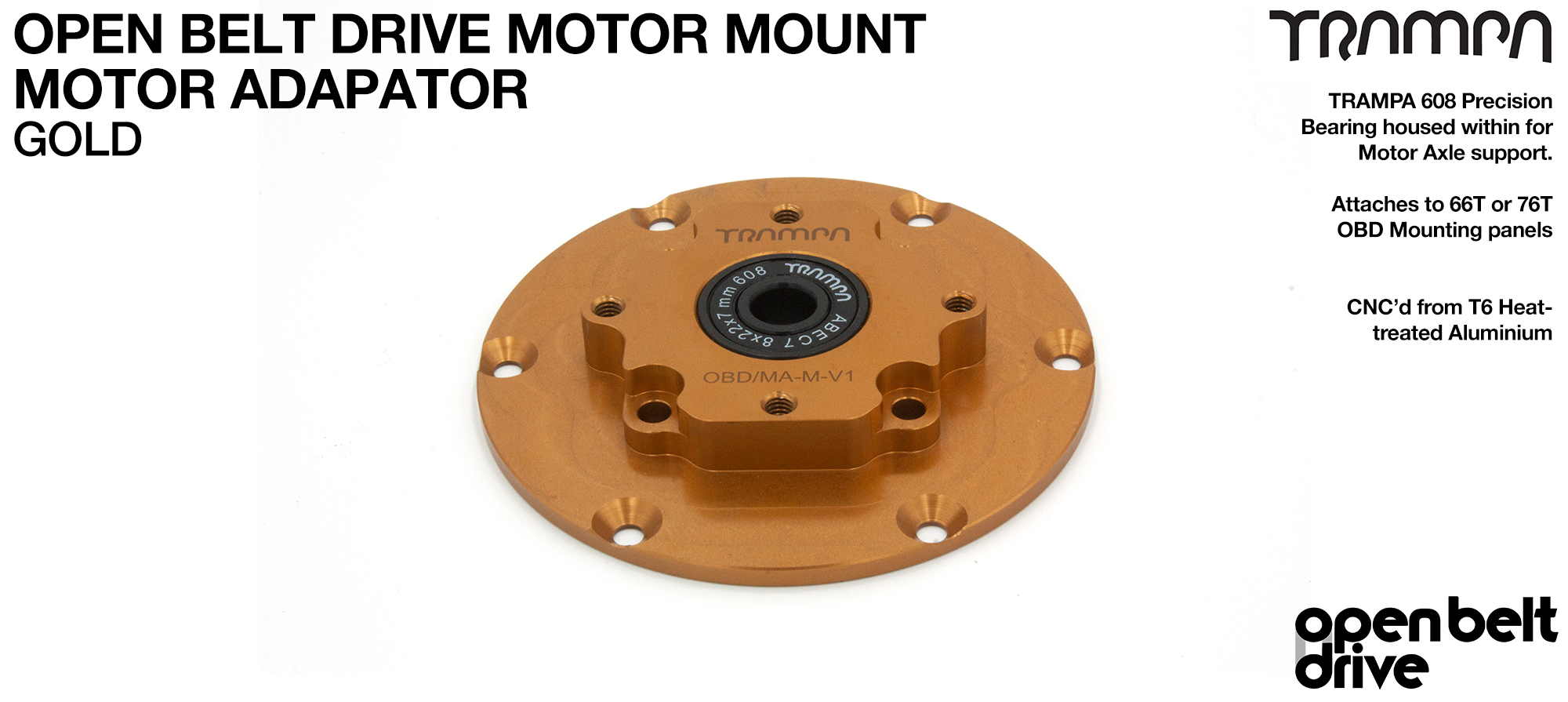 OBD Motor Adaptor with Housed Bearing - GOLD