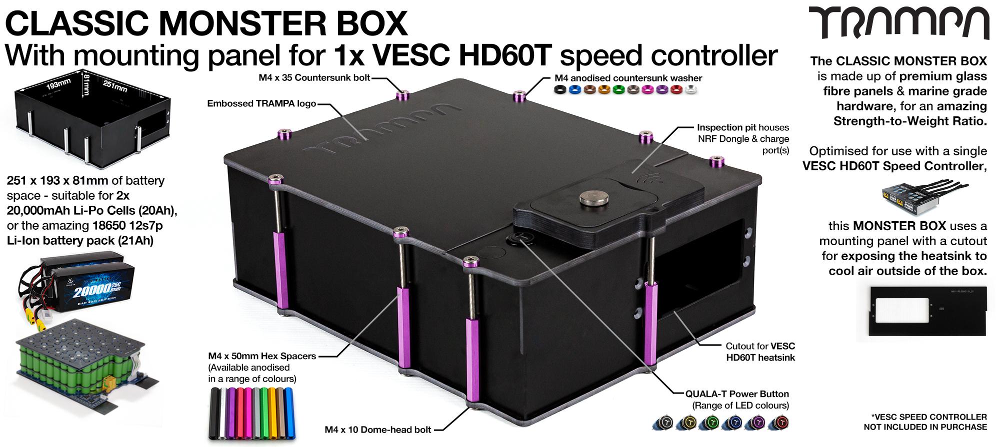 Classic MONSTER Box MkIV fits 84x 18650 cells or 2x22000 mAh Lipos & has Panels to fit 1x VESC HD-60T internally.