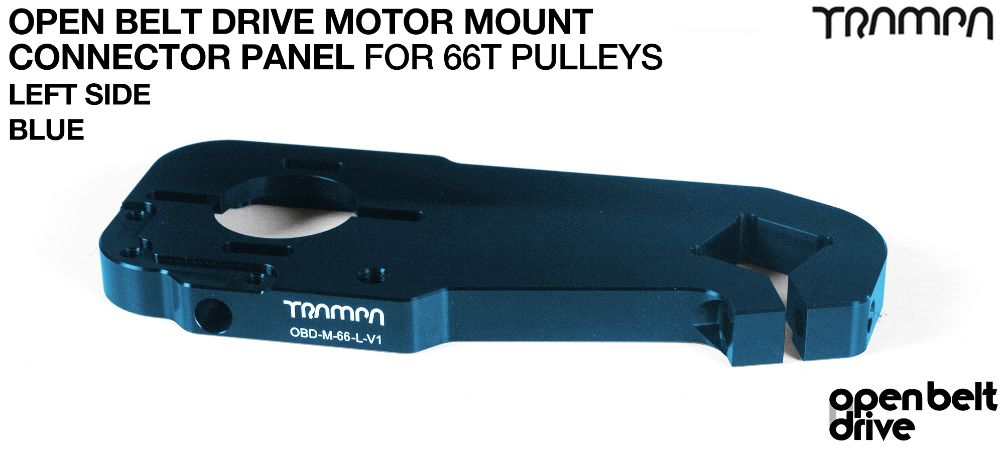OBD Motor Mount Connector Panel for 66 tooth Pulleys - REGULAR - BLUE