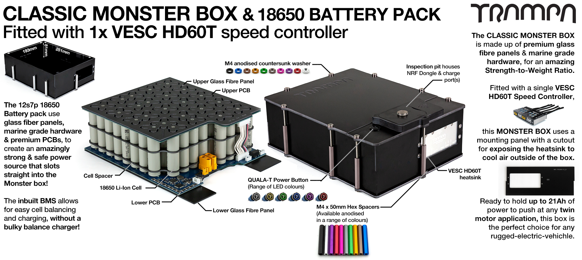 Classic MONSTER Box MkIV - with 18650 PCB Pack, 1x VESC HD-60Twin & 84x 18650 cells 12s7p 21Ah - PCB based Battery Pack with Integrated Battery Management System (BMS) - UK CUSTOMERS ONLY