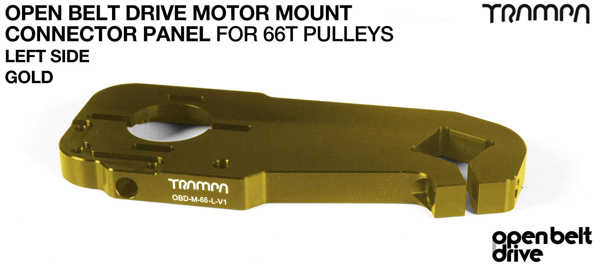 OBD Motor Mount Connector Panel for 66 tooth Pulleys - REGULAR - GOLD