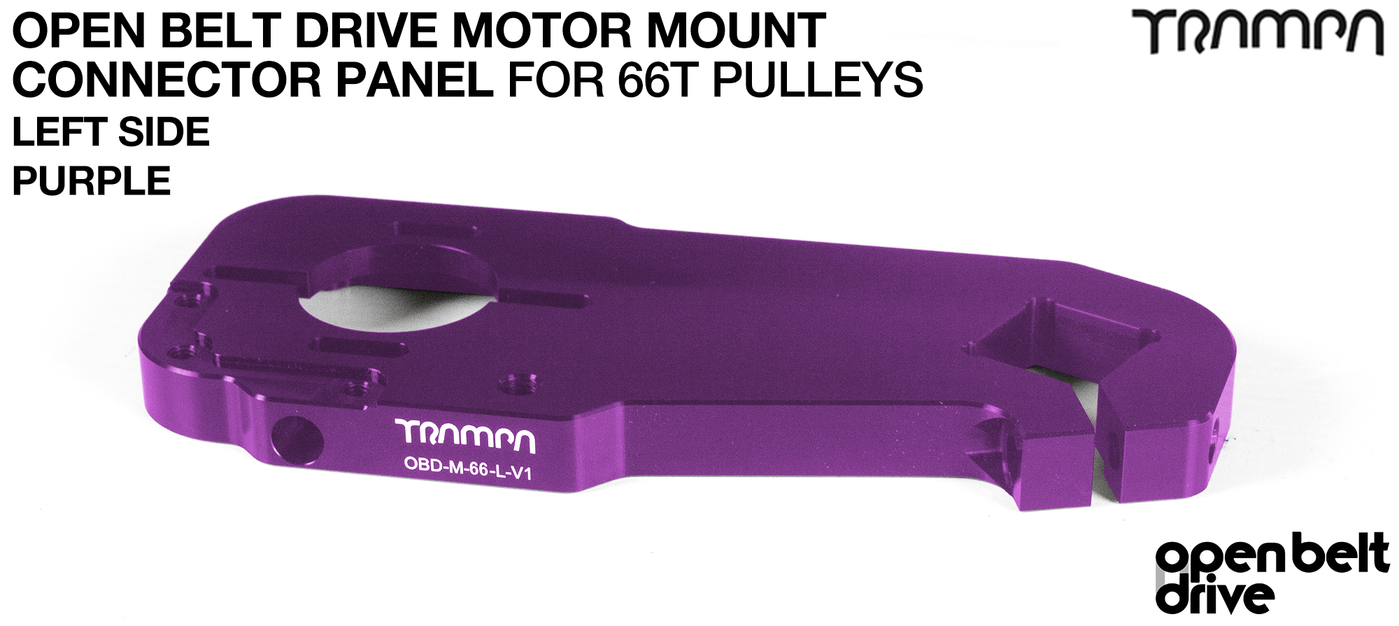 OBD Motor Mount Connector Panel for 66 tooth Pulleys - REGULAR - PURPLE