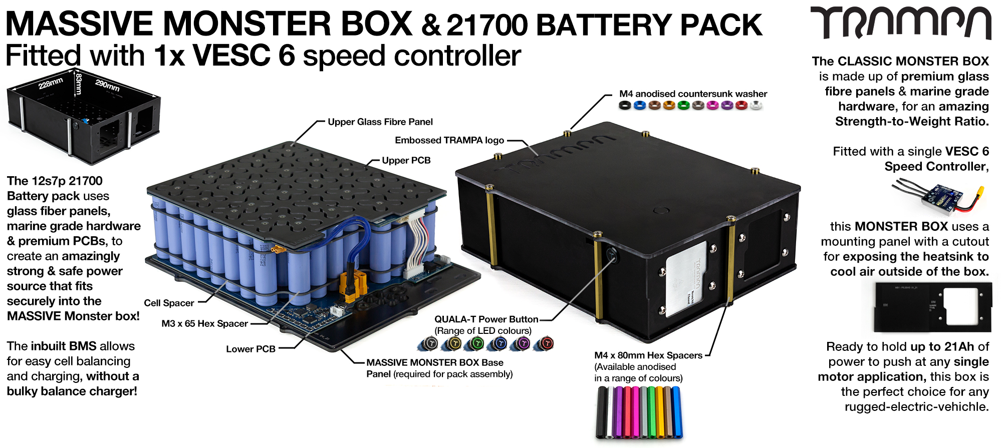 21700 MASSIVE MONSTER Box with 21700 PCB Pack with 1x VESC 6 & 84x 21700 cells 12s7p = 35Ah - Specifically made to work in conjunction with TRAMPA's Electric Decks but can be adapted to fit anything - UK Customers only