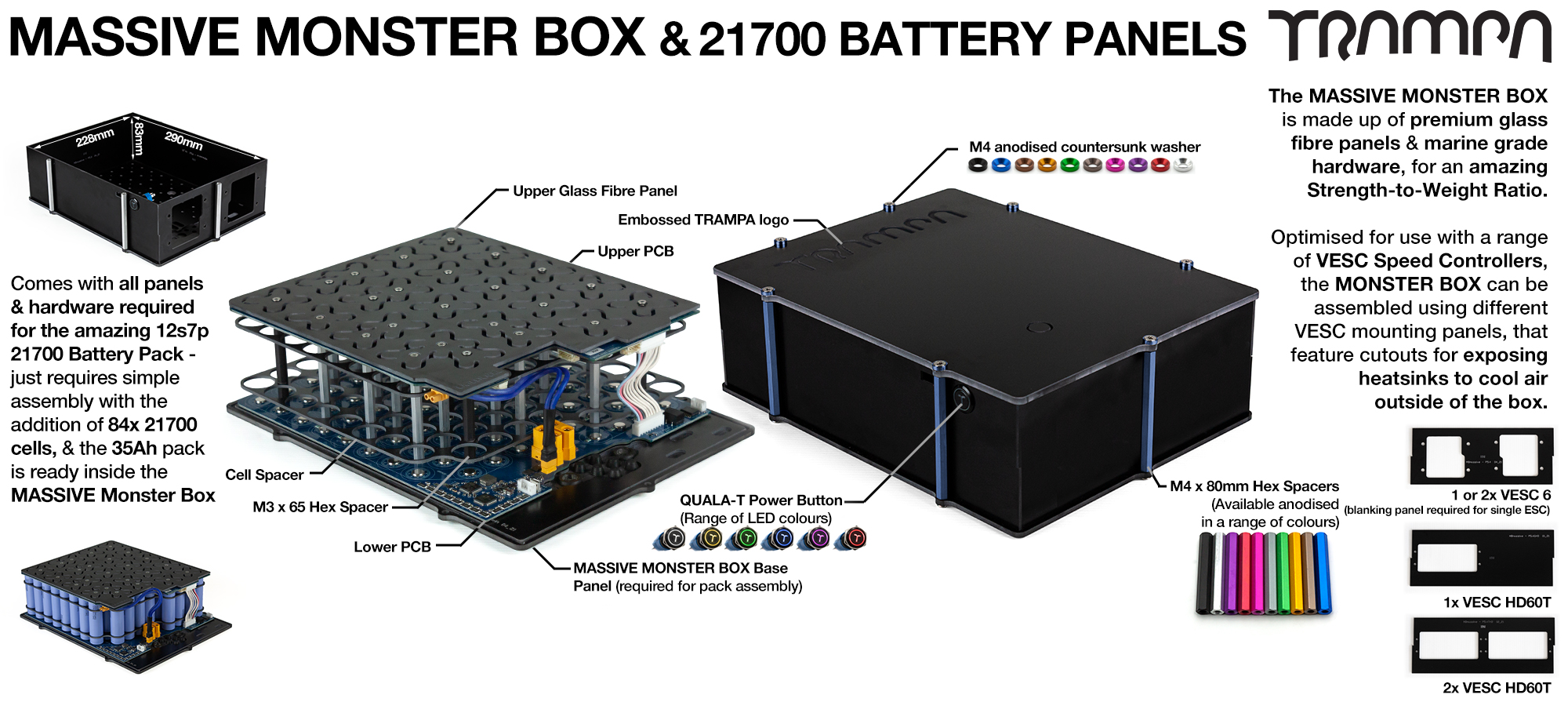 21700 MASSIVE MONSTER Box with 21700 PCB Pack - NO VESC & NO CELLS