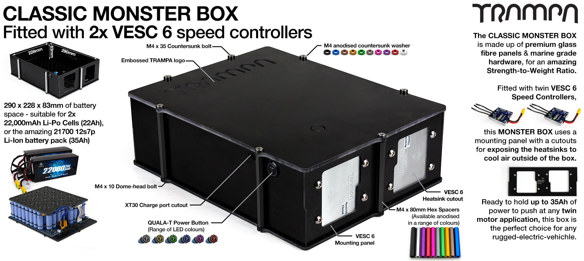 MASSIVE MONSTER Box fitted with 2x VESC 6 & NRF - fits 84 21700 cells is Made specifically to work in conjunction with TRAMPA's Electric Decks but can be modified to power many things!