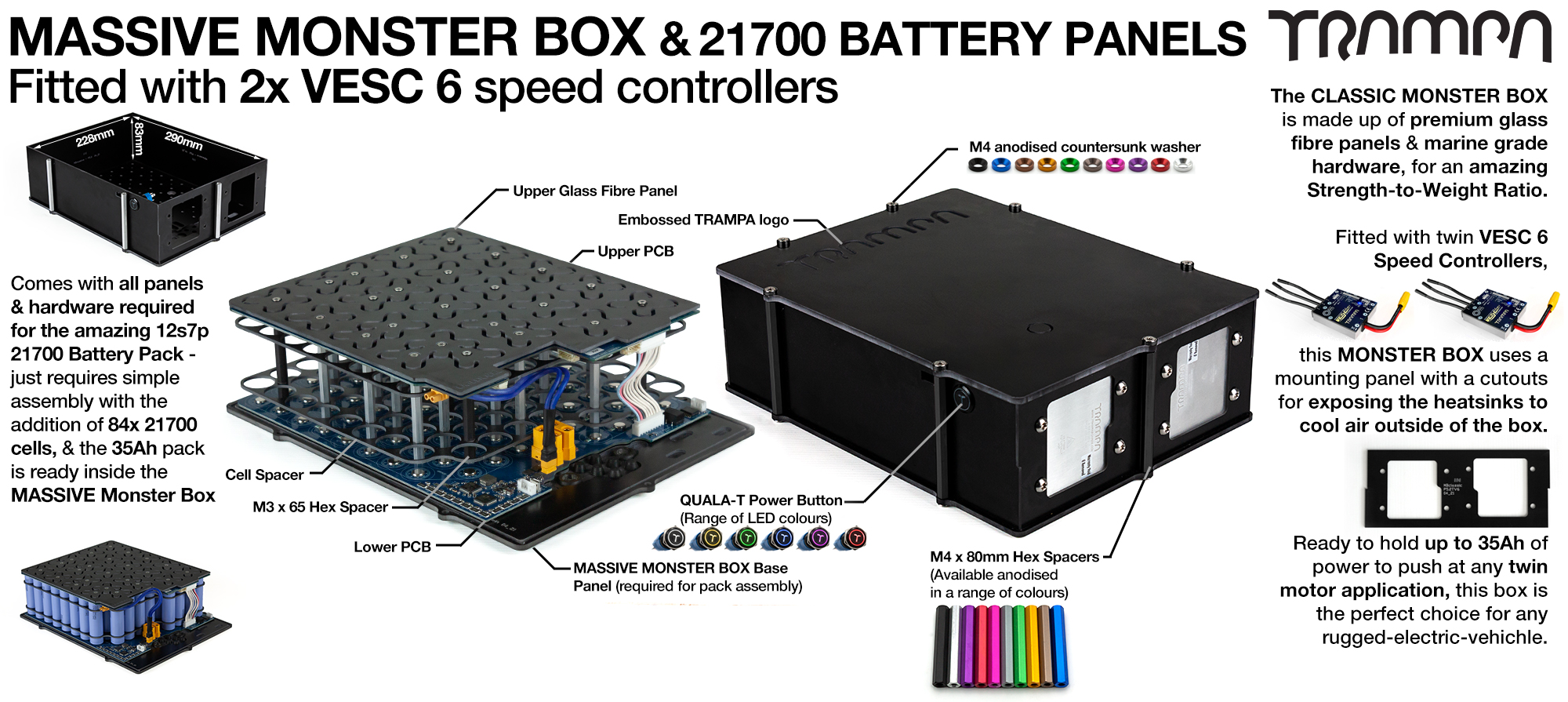 21700 MASSIVE MONSTER Box with 21700 PCB Pack with 2x VESC 6 - NO CELLS