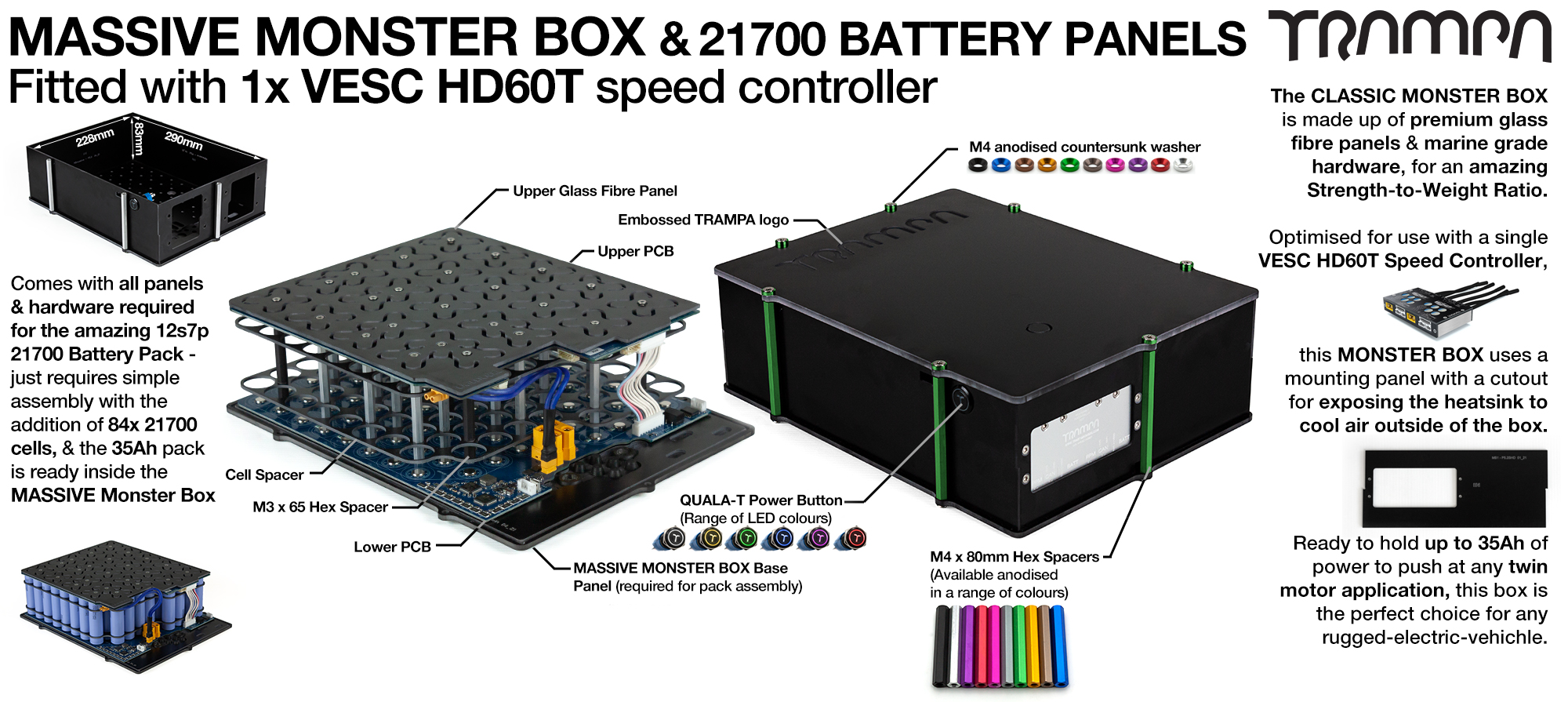 21700 2WD MASSIVE MONSTER Box with 21700 PCB Pack with 1x VESC HD-60Twin - NO CELLS