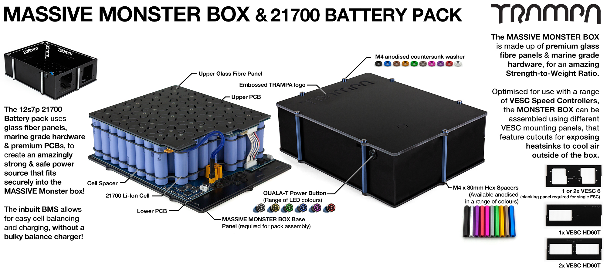 21700 MASSIVE MONSTER Box with 21700 PCB Pack with 84x 21700 cells 12s7p 35Ah NO VESC - UK Customers only