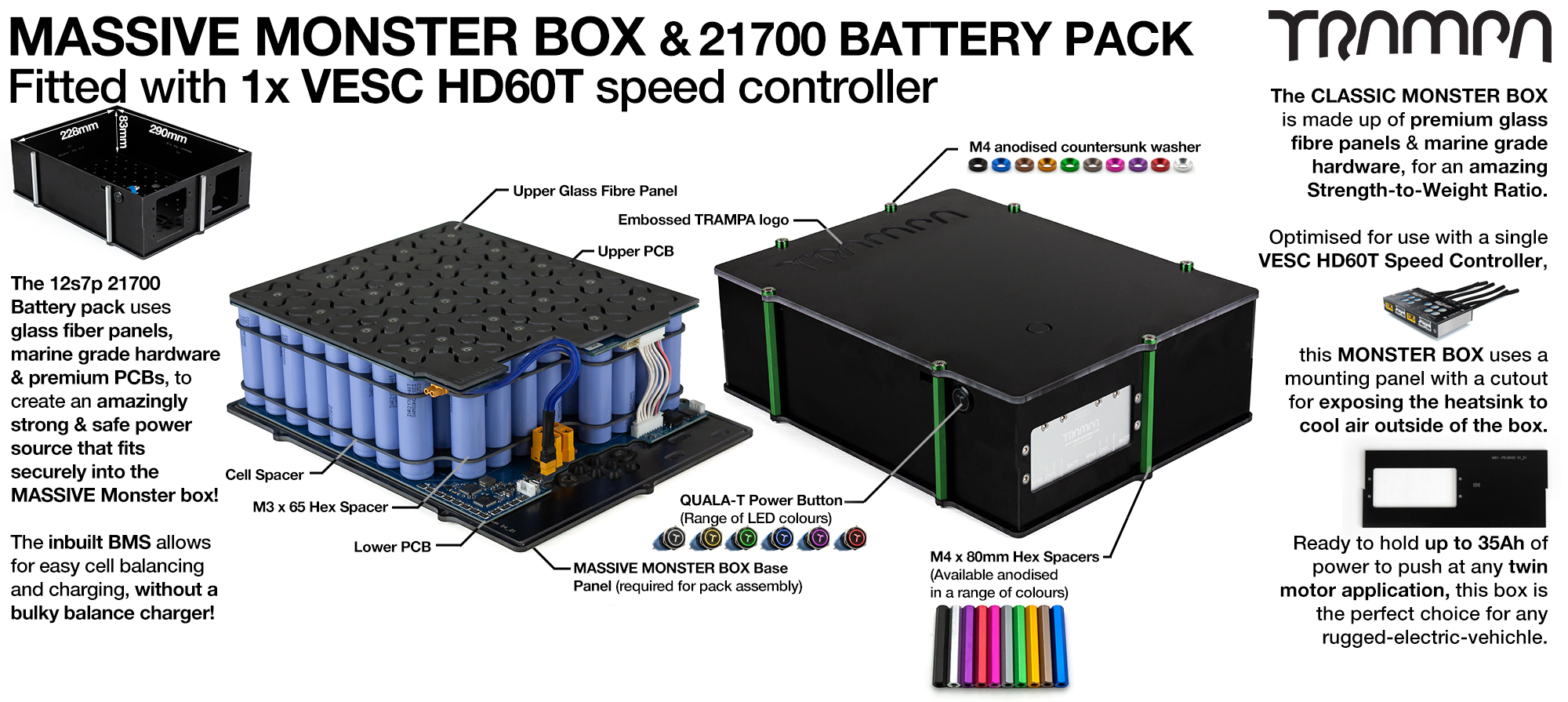 21700 MASSIVE MONSTER Box with 21700 PCB Pack with 1x VESC HD-60Twin & 84x 21700 cells 12s7p = 35Ah - Specifically made to work in conjunction with TRAMPA's Electric Decks but can be adapted to fit anything - UK Customers only
