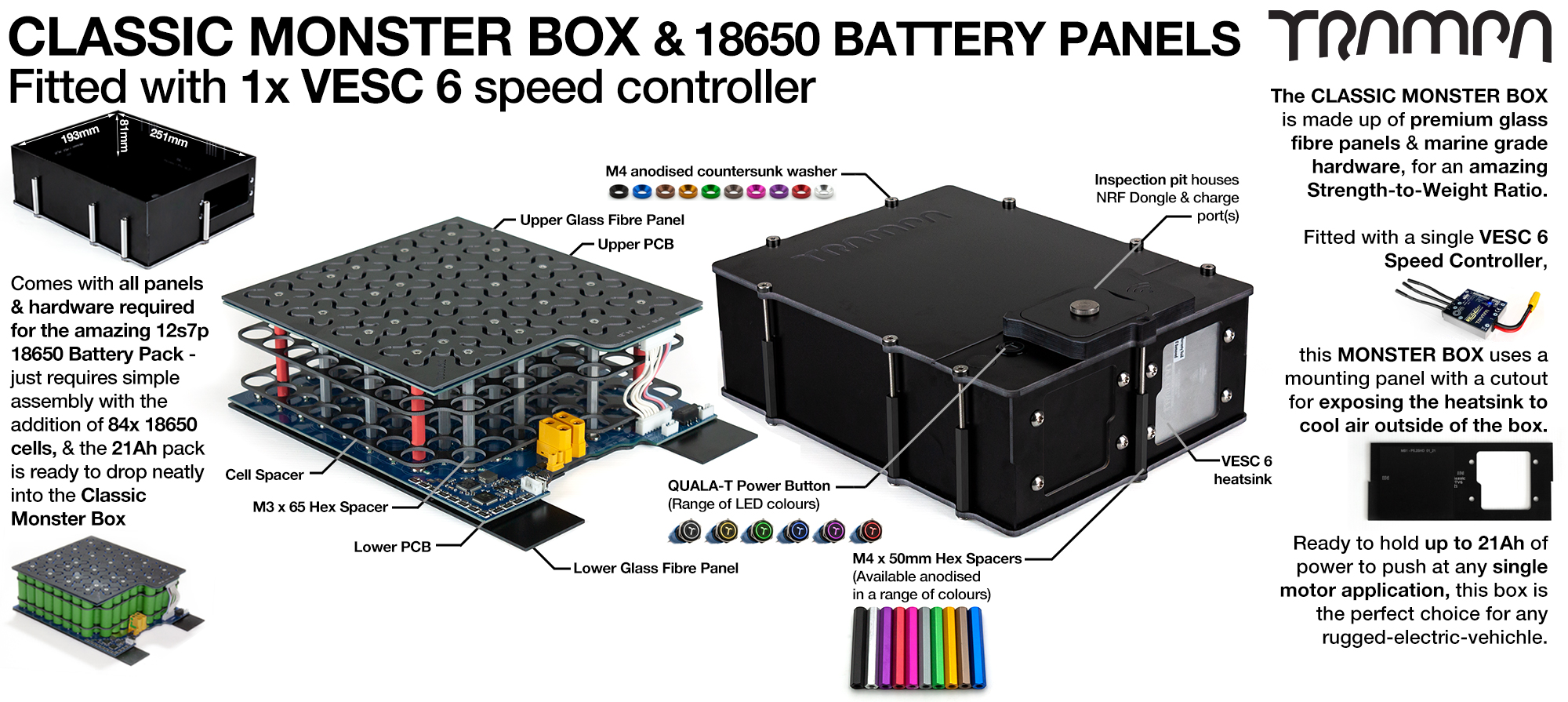 MONSTER Box MkIV - with 18650 PCB Pack & 1x VESC 6 NRF fitted - NO CELLS - PCB based Battery Pack has Integrated Battery Management System (BMS) - Supplied with NO Cells