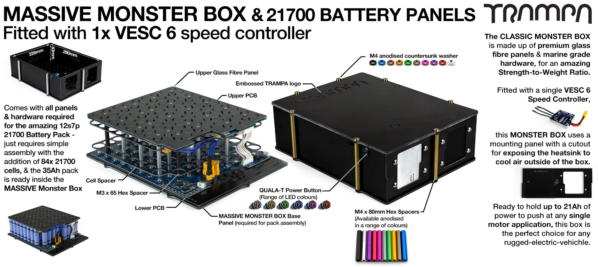 21700 MASSIVE MONSTER Box with 21700 PCB Pack with 1x VESC 6 - NO CELLS