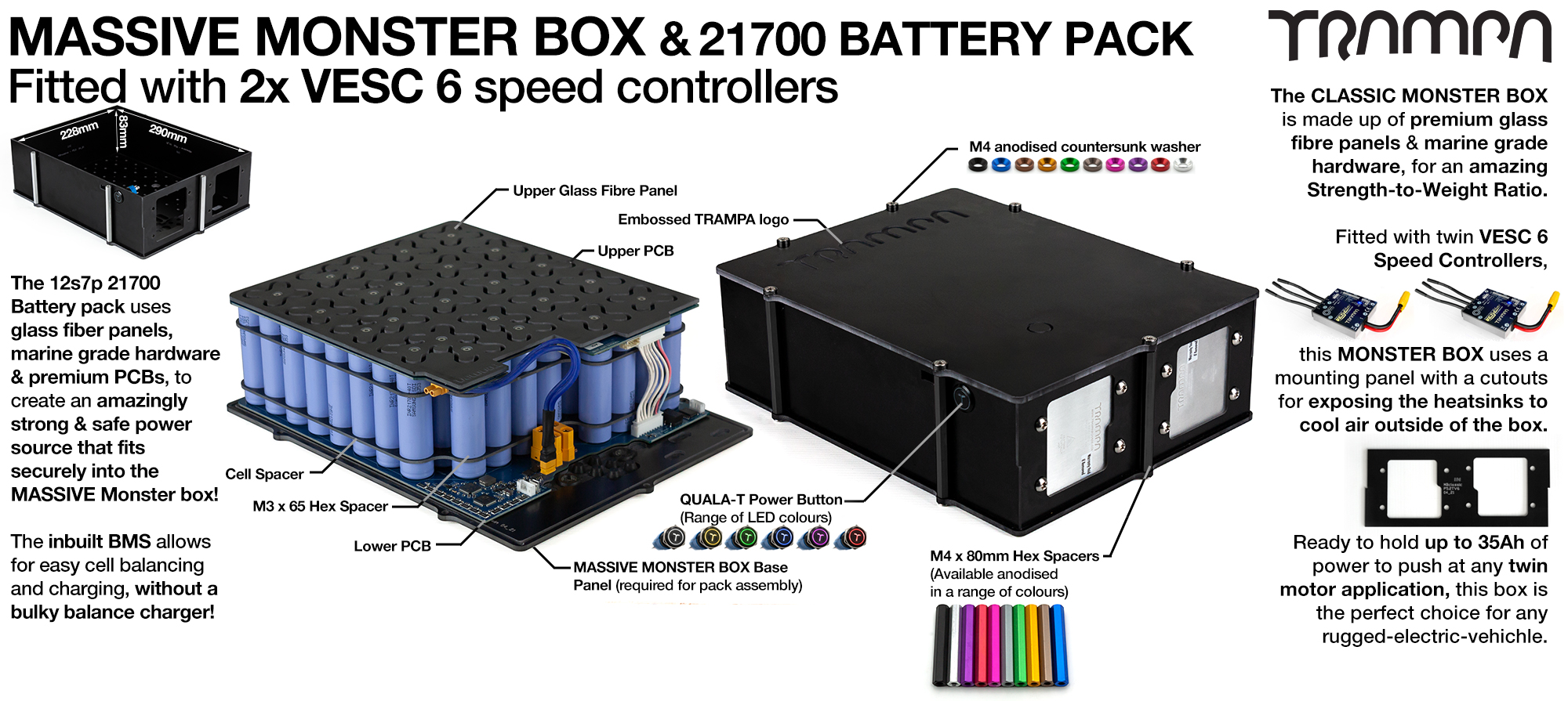 21700 MASSIVE MONSTER Box with 21700 PCB Pack with 2x VESC 6 & 84x 21700 cells 12s7p = 35Ah - Specifically made to work in conjunction with TRAMPA's Electric Decks but can be adapted to fit anything - UK Customers only