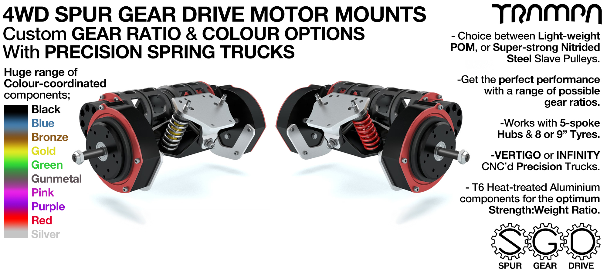 4WD TRAMPA Mountainboard Spur Gear Drive Motor Mount assembled onto 2x Precision Made 16.5Inch Mountainboard TRUCKs