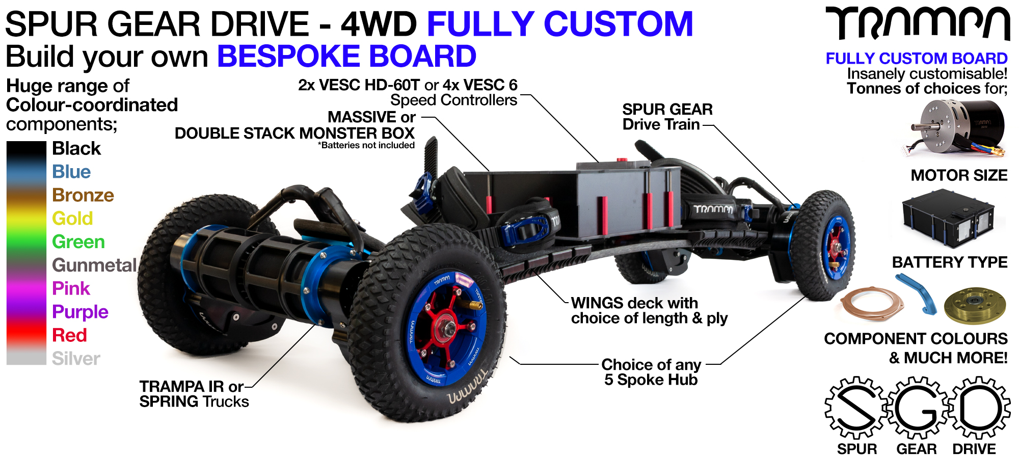 4WD SPUR GEAR DRIVE BIGBOI Electric TRAMPA Mountainboard - CUSTOM