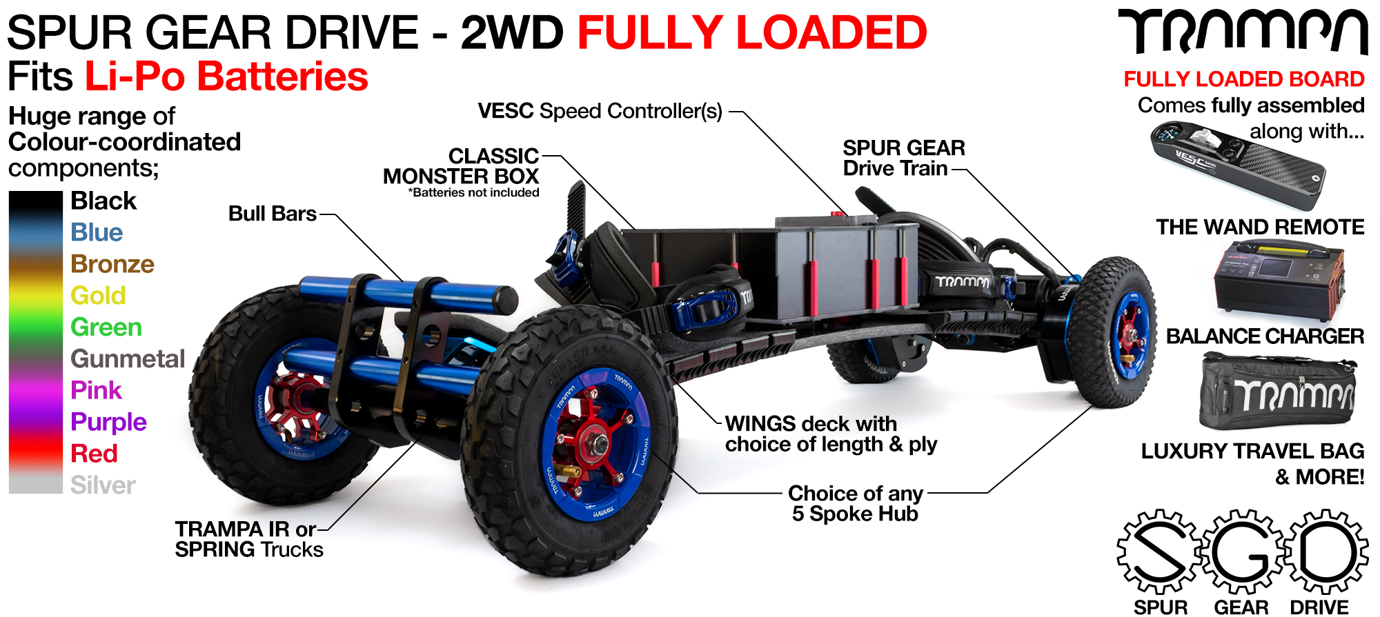 2WD SPUR GEAR DRIVE Electric Mountainboard - FULLY LOADED Li-Po supplied with The WAND, 15A Charger, Luxury Bag, assembled...
