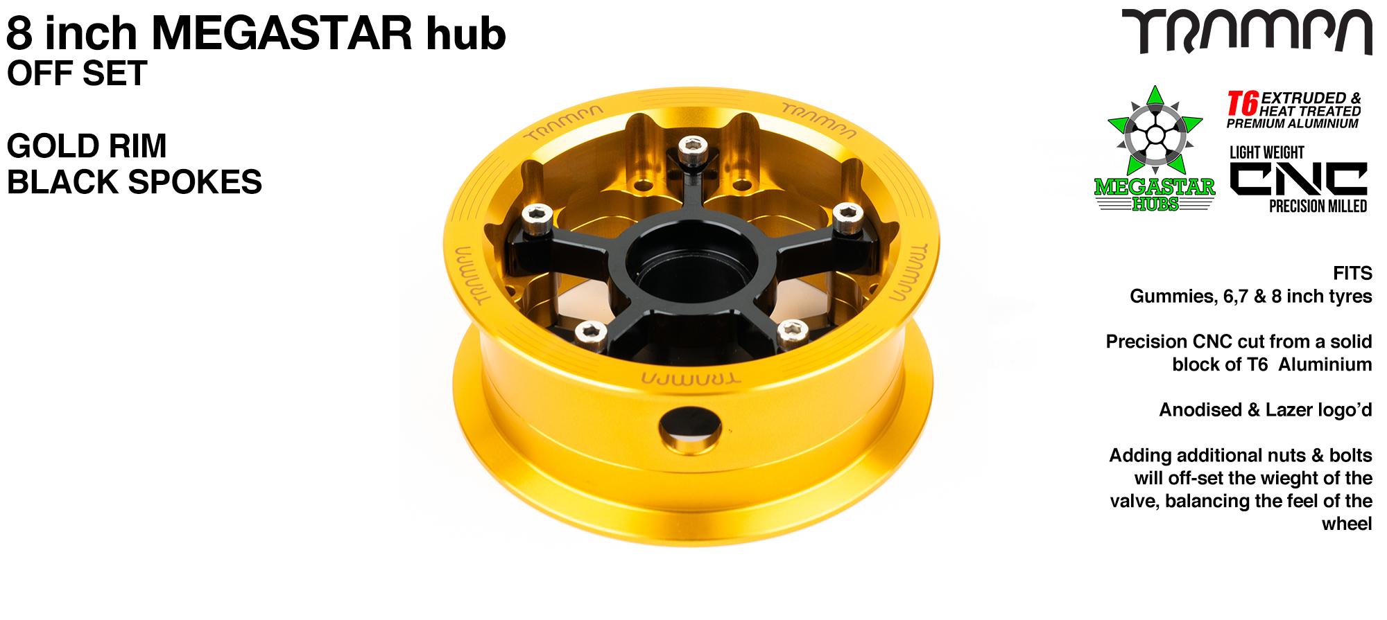 8 Inch OFF-SET MEGASTAR Hub - GOLD Rim with BLACK Spokes