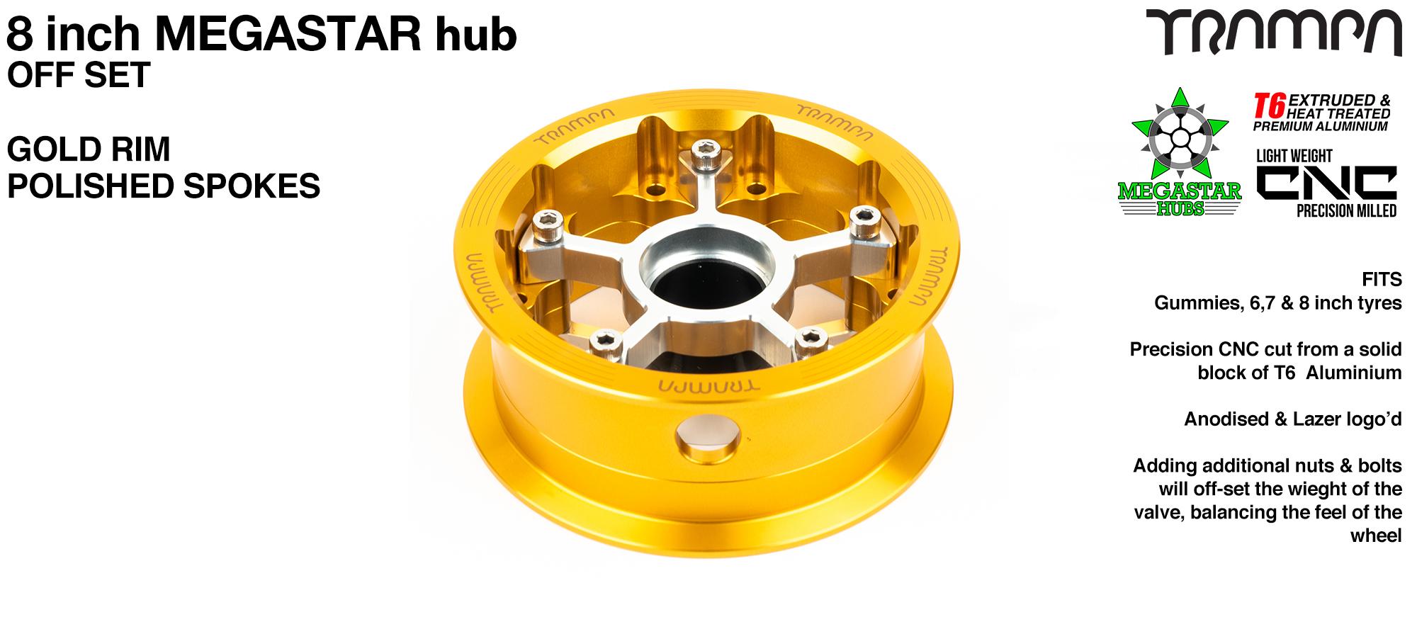 8 Inch OFF-SET MEGASTAR Hub - GOLD Rim with SILVER Spokes