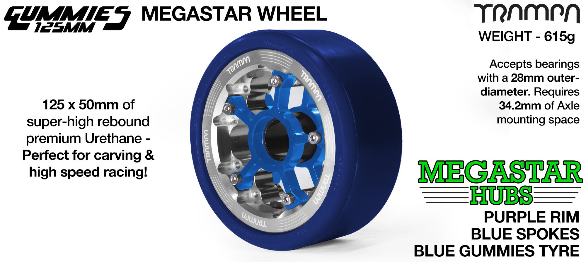 POLISHED MEGASTAR Rim with BLUE Spokes with BLUE Gummies   - The Ulrimate Longboard Wheel
