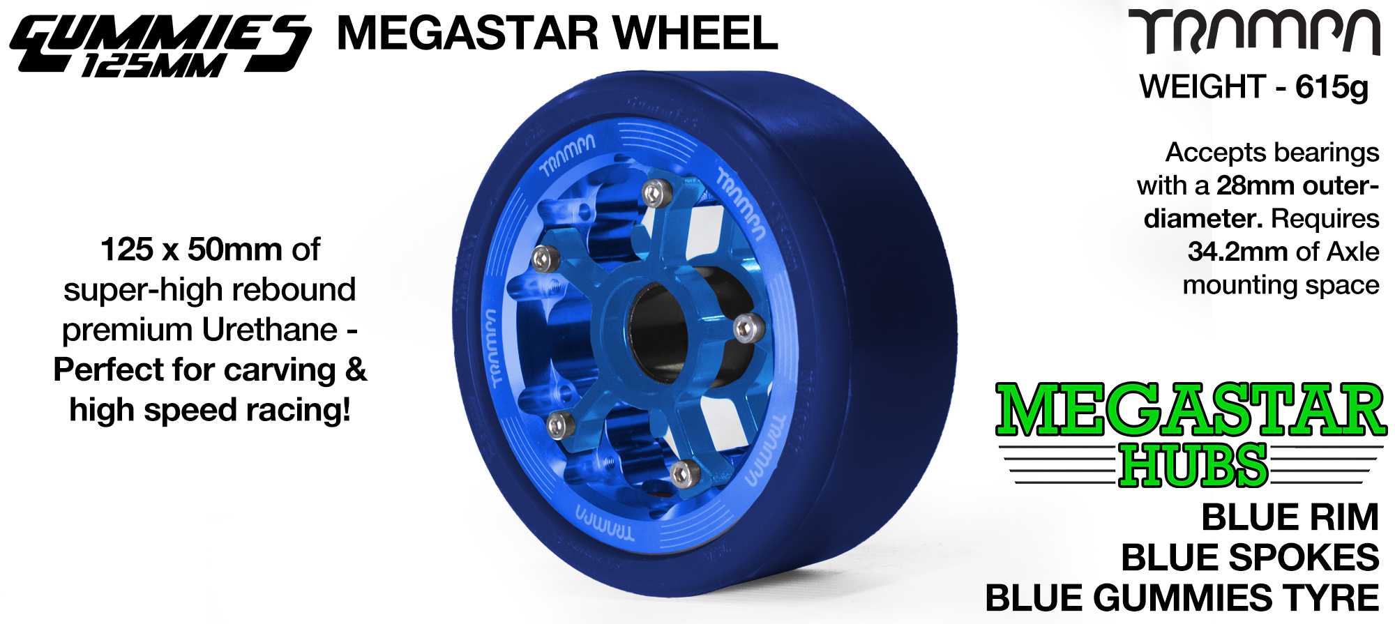 BLUE MEGASTAR Rim with BLUE Spokes with BLUE Gummies   - The Ultimate Longboard Wheel