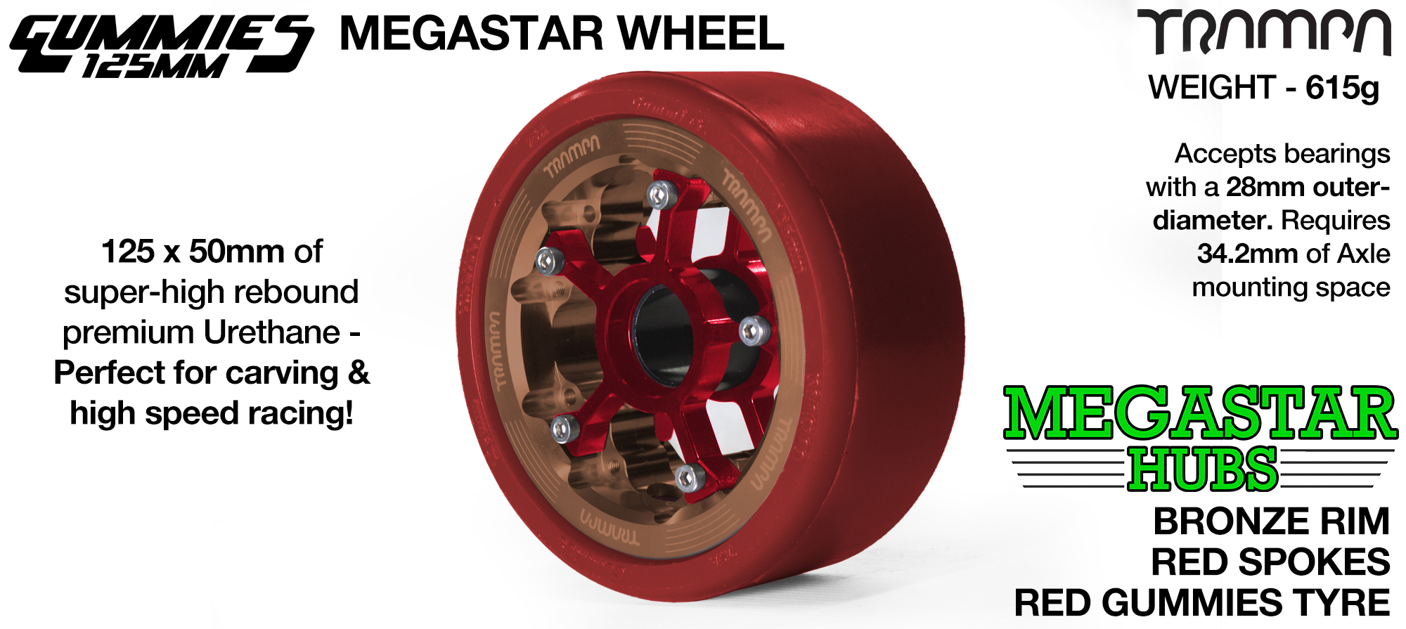 BRONZE MEGASTAR Rim with RED Spokes with RED Gummies - The Ultimate Longboard Wheel