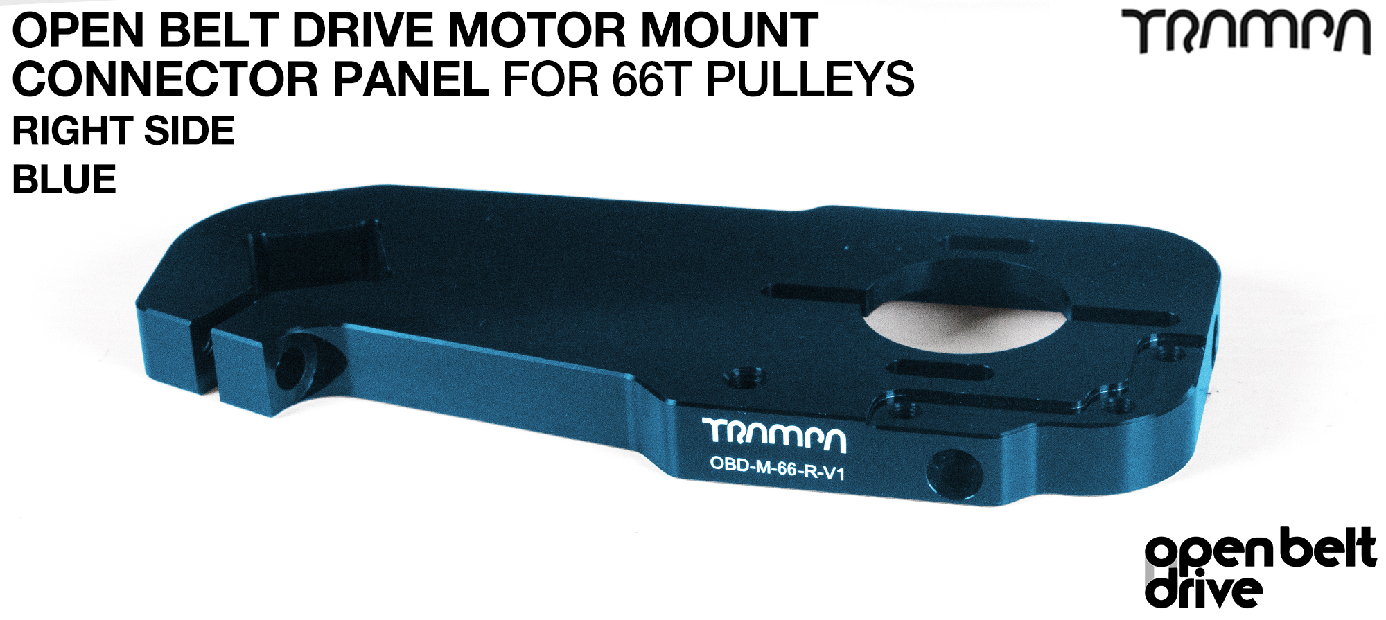 OBD Open Belt Drive Motor Mount Connector Panel for 66 tooth Pulleys - GOOFY - BLUE