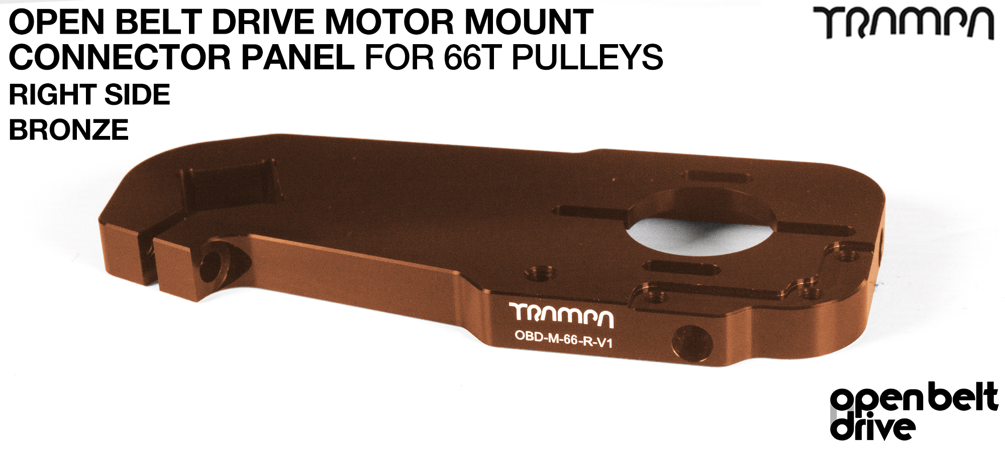 OBD Open Belt Drive Motor Mount Connector Panel for 66 tooth Pulleys - GOOFY - BRONZE