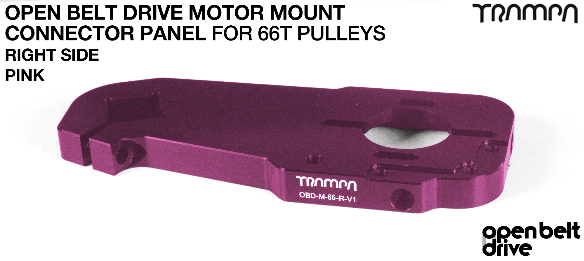 OBD Open Belt Drive Motor Mount Connector Panel for 66 tooth Pulleys - GOOFY - PINK
