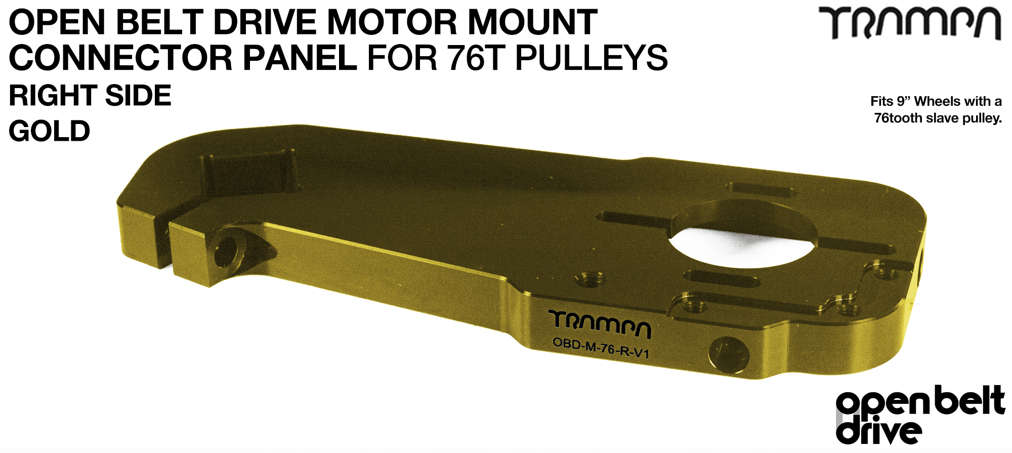OBD Motor Mount Connector Panel for 76 tooth Pulleys - GOOFY - GOLD