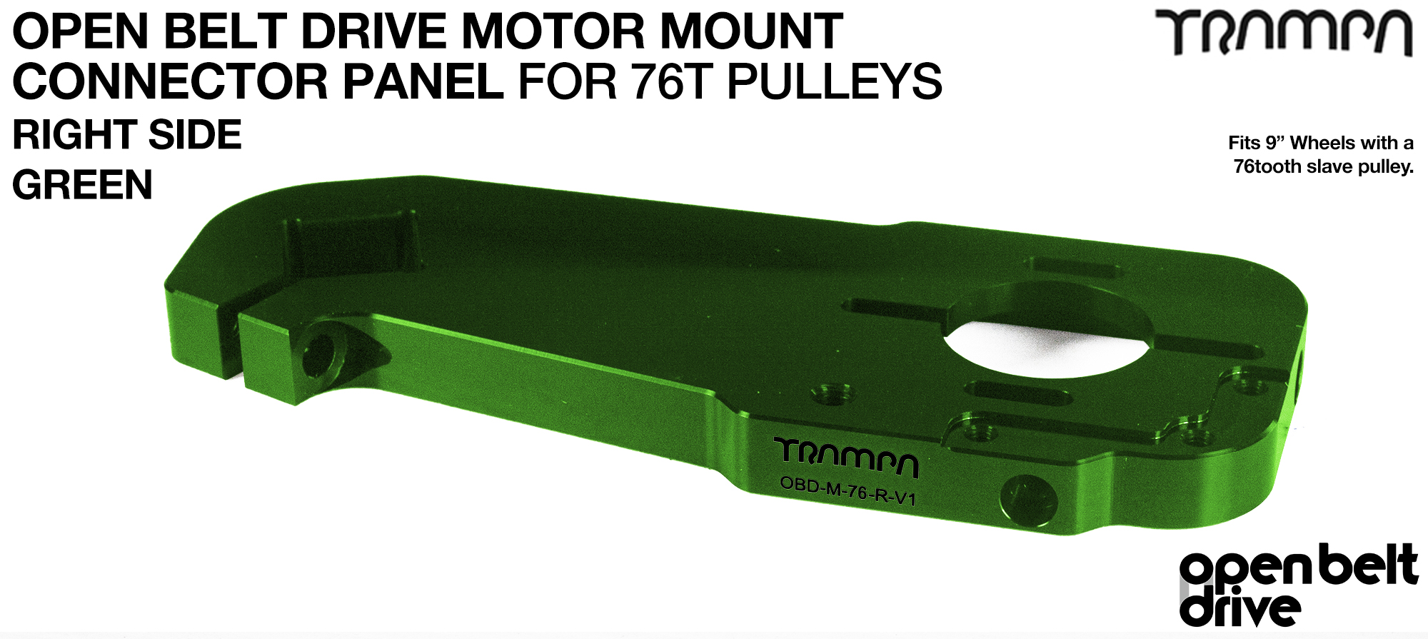 OBD Motor Mount Connector Panel for 76 tooth Pulleys - GOOFY - GREEN
